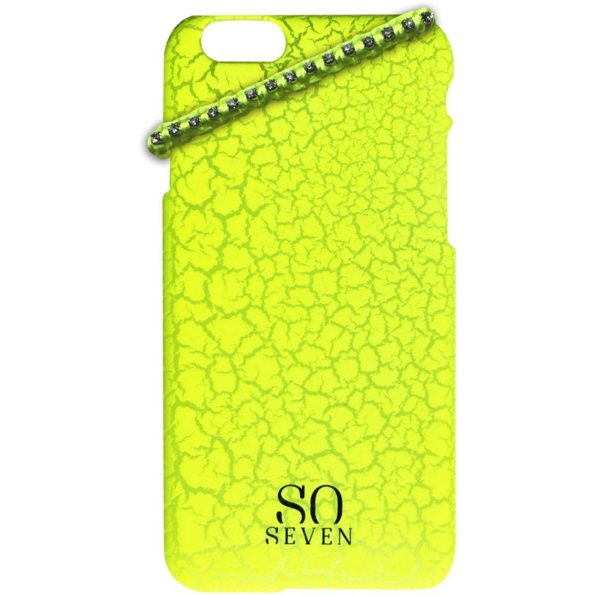 Coque so seven fluo jaune craquel�+bracelet iphone 6/6s