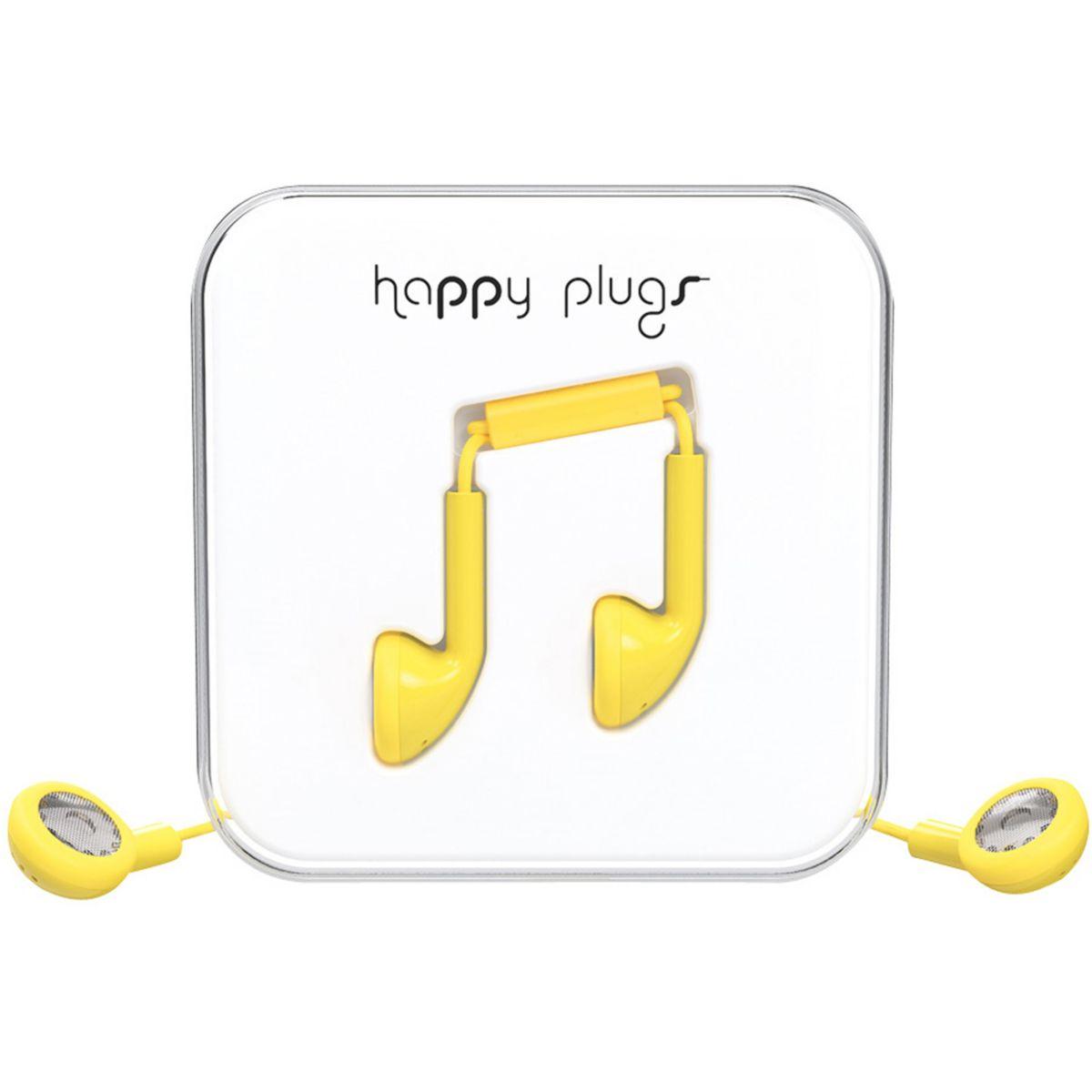 Ecouteurs avec micro happy plugs earbud yellow - 20% de remise...
