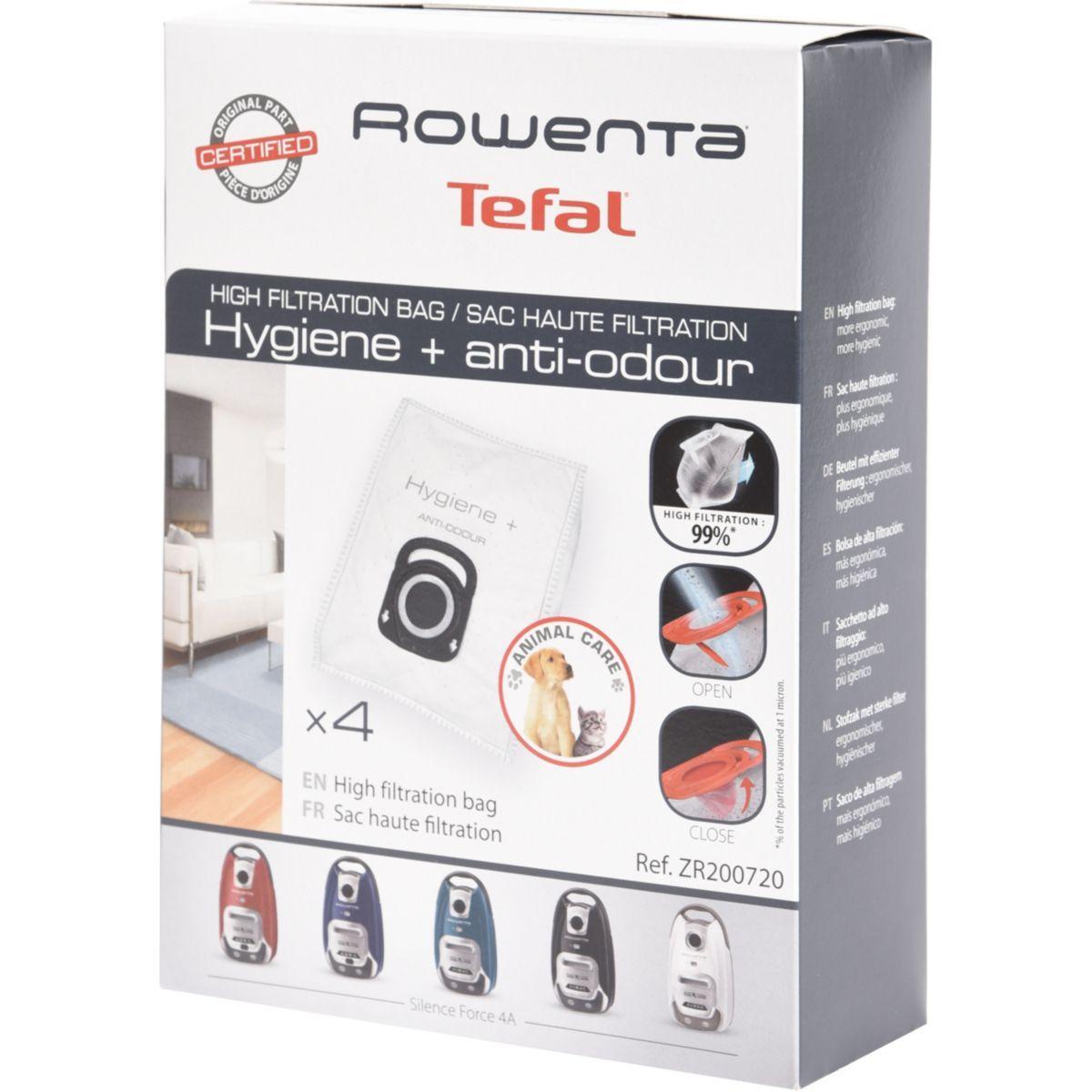 Sac aspirateur rowenta 4 sacs haute filt. hygi�ne+ anti odeur
