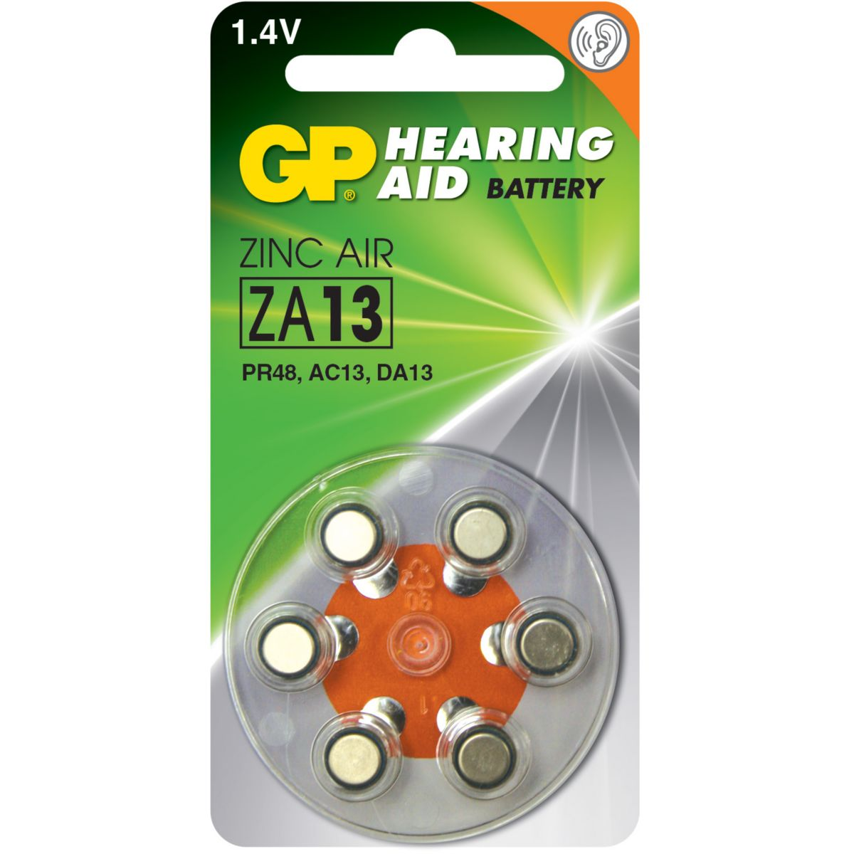 Pile non rechargeable gp auditives z a13/pr48/ac13/da13 - 2% d...
