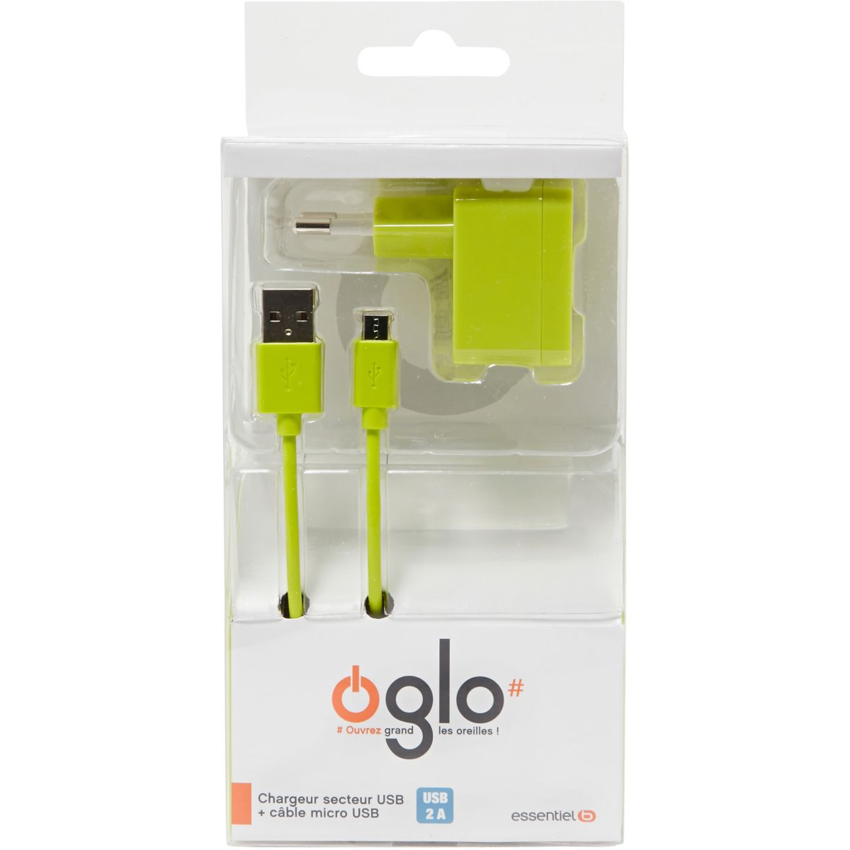 Chargeur enceinte oglo# micro usb + c�ble usb vert (photo)