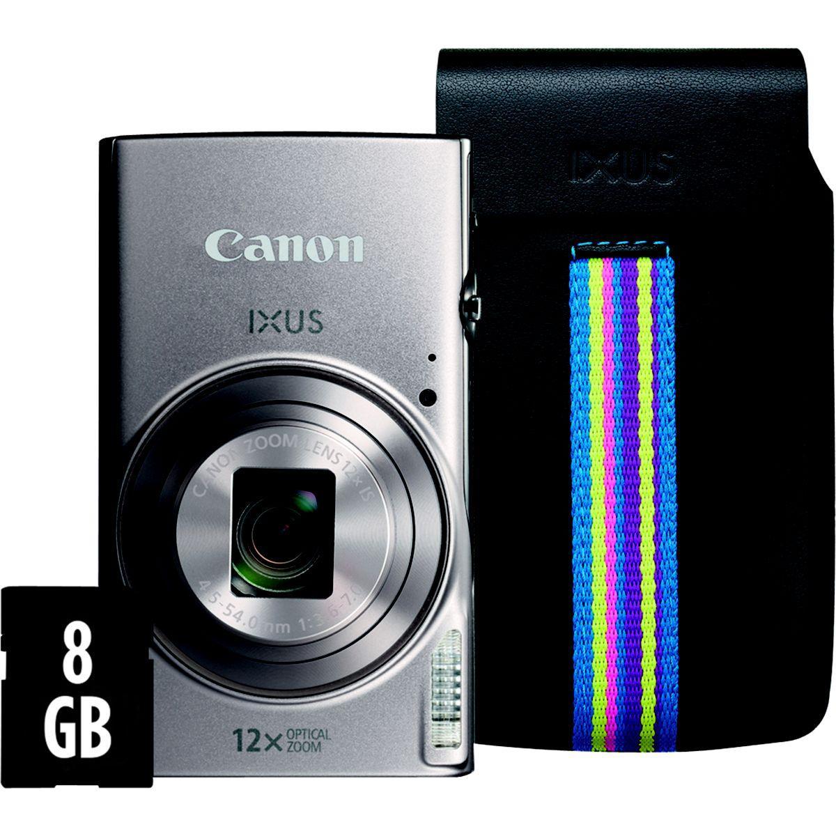 Appareil photo compact canon ixus 285 hs silver + etui + sd 8go - livraison offerte : code livphoto (photo)