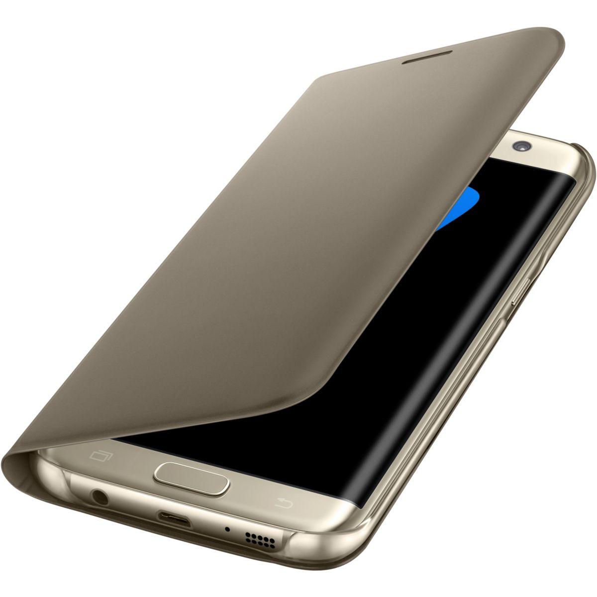 Etui samsung flip wallet galaxy s7 edge gold - livraison offerte : code liv