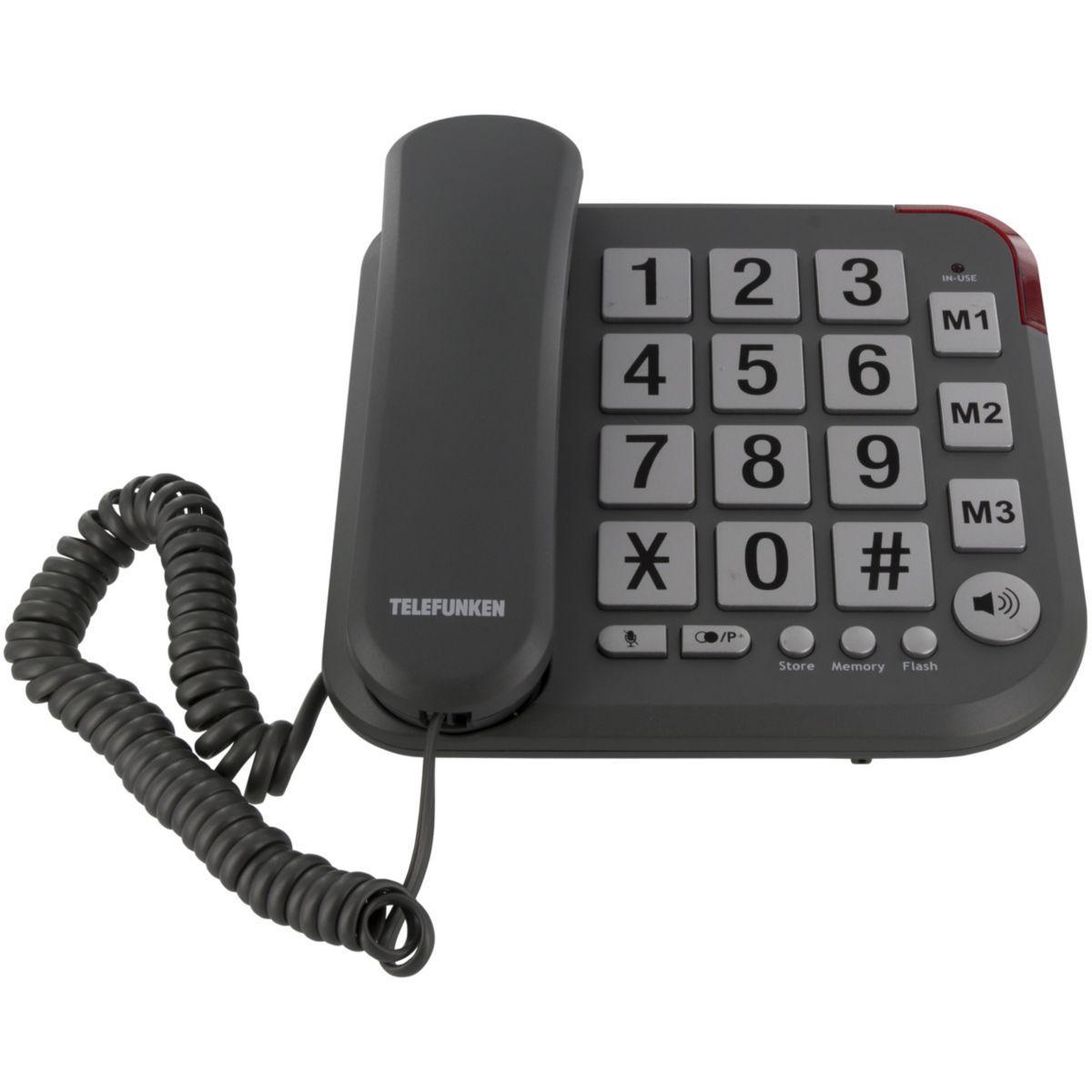 Téléphone filaire telefunken tf401 solo noir - 15% de remise immédiate avec le code : cool15 (photo)