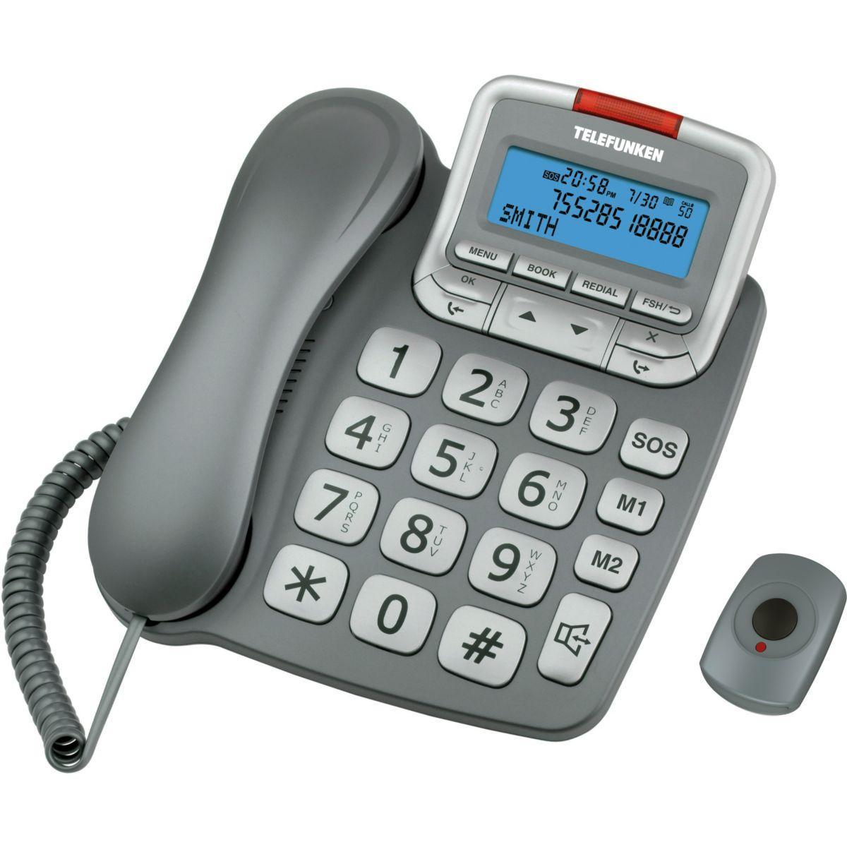 Téléphone filaire telefunken tf591 solo gris avec sos - 20% de remise immédiate avec le code : cool20 (photo)
