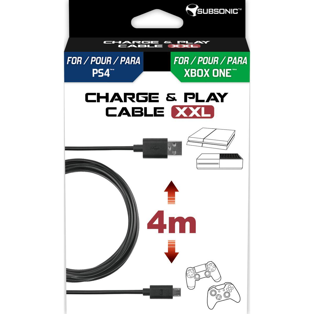 C?ble de recharge subsonic cable charge & play 4m ps4/xbox...