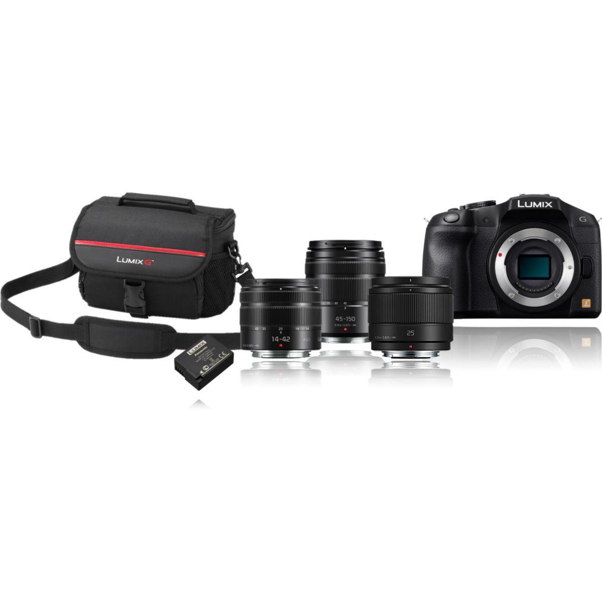 Appareil photo hybride panasonic dmc-g6 + 14-42mm + 45-150m + 25mm (photo)