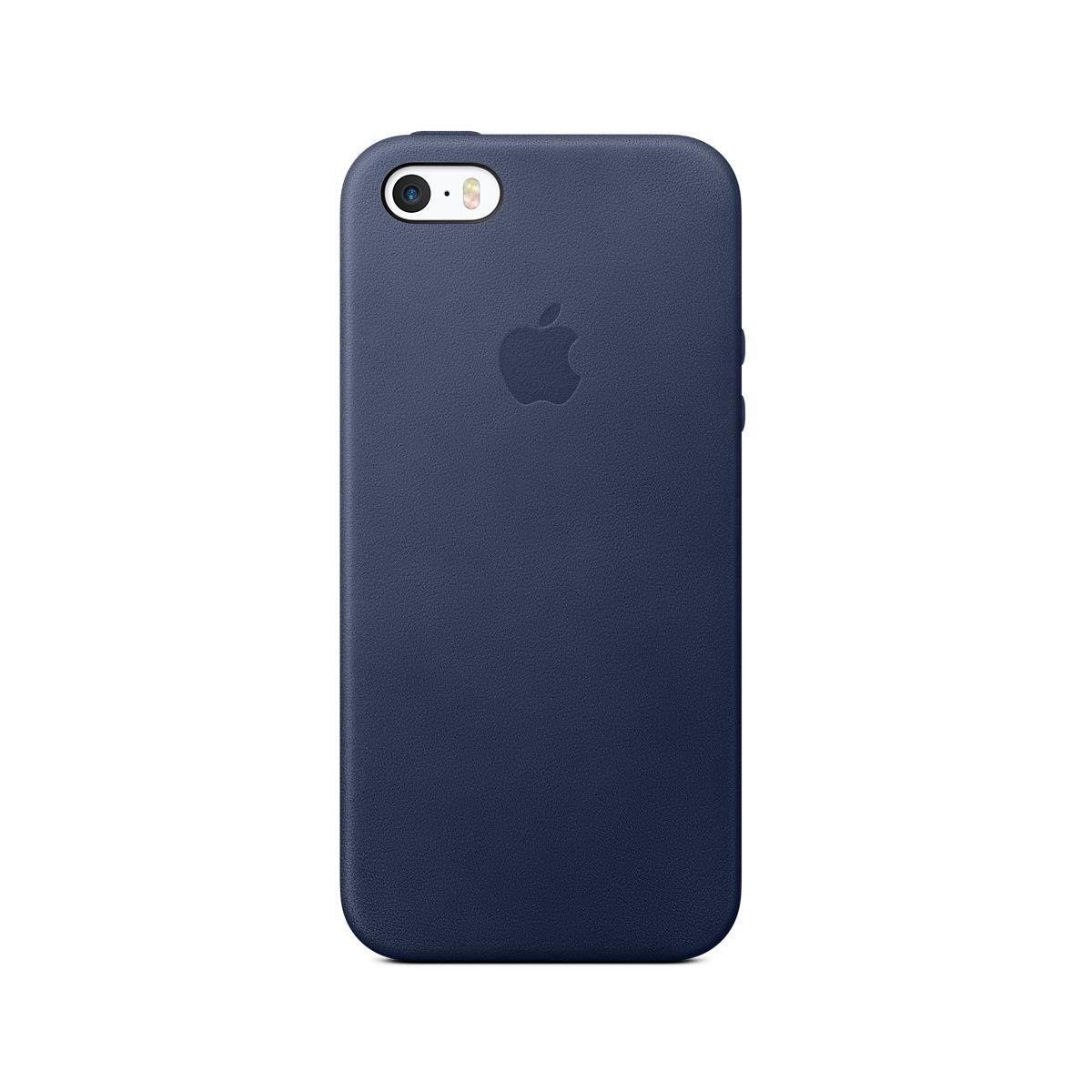 Coque apple cuir bleu nuit iphone 5s/se (photo)