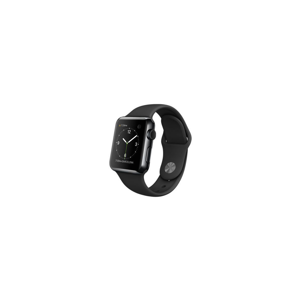 Montre apple watch 38mm acier noir /noir - 20% de remise immédiate avec le code : top20 (photo)