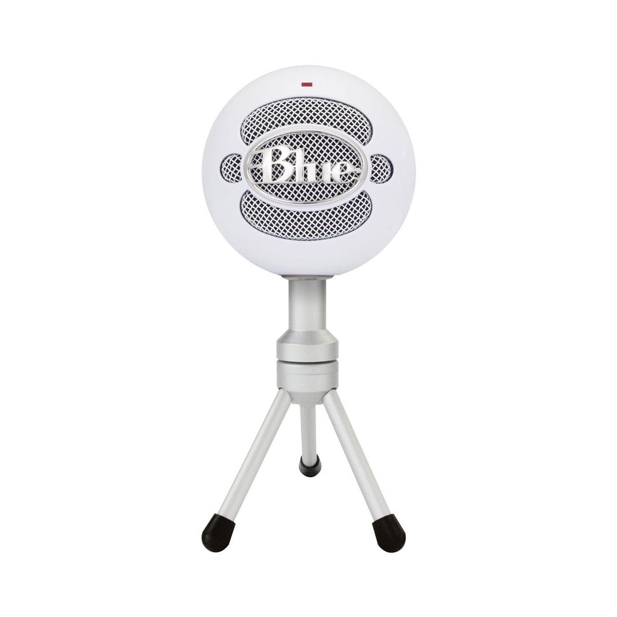 Micro gamer blue microphones snowball ice blanc (photo)