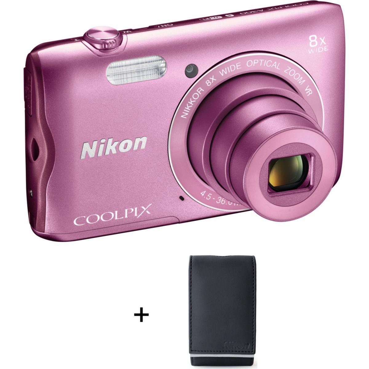 Appareil photo compact nikon a300 rose + etui (photo)