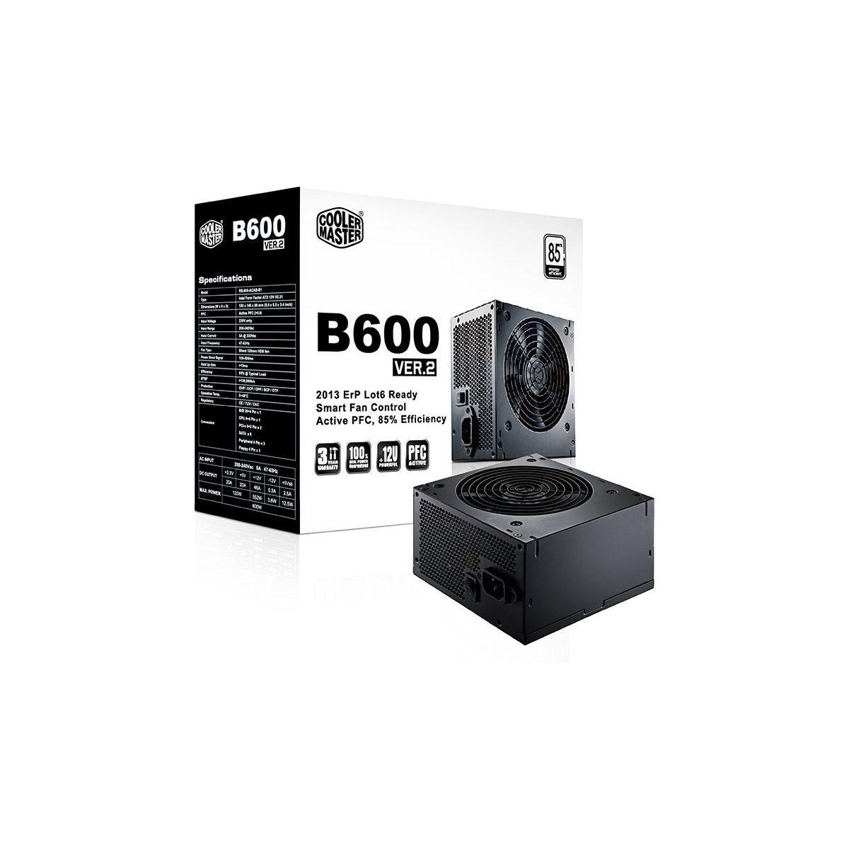 Alimentation cooler master b600 ver.2 atx12v 2.31 - ca 230 v - 2% de remise immédiate avec le code : cool2 (photo)
