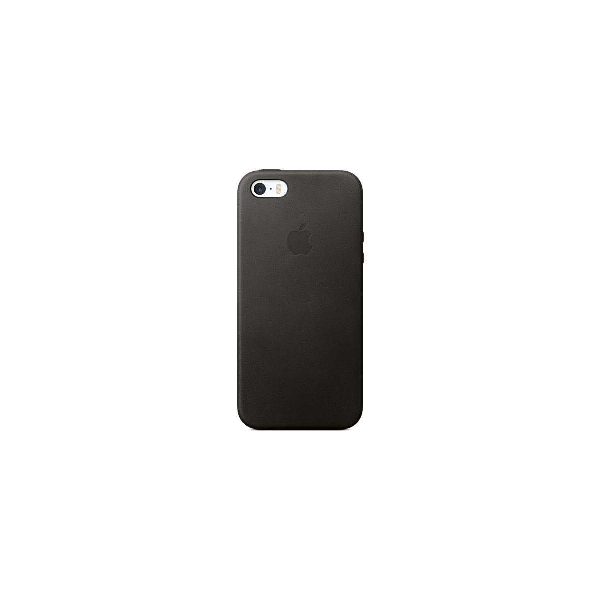Coque apple cuir noir iphone 5s/se (photo)