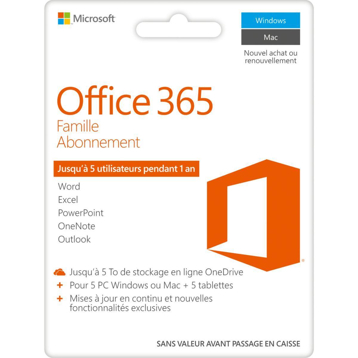 Logiciel de bureautique microsoft office 365 famille - 10% de ...