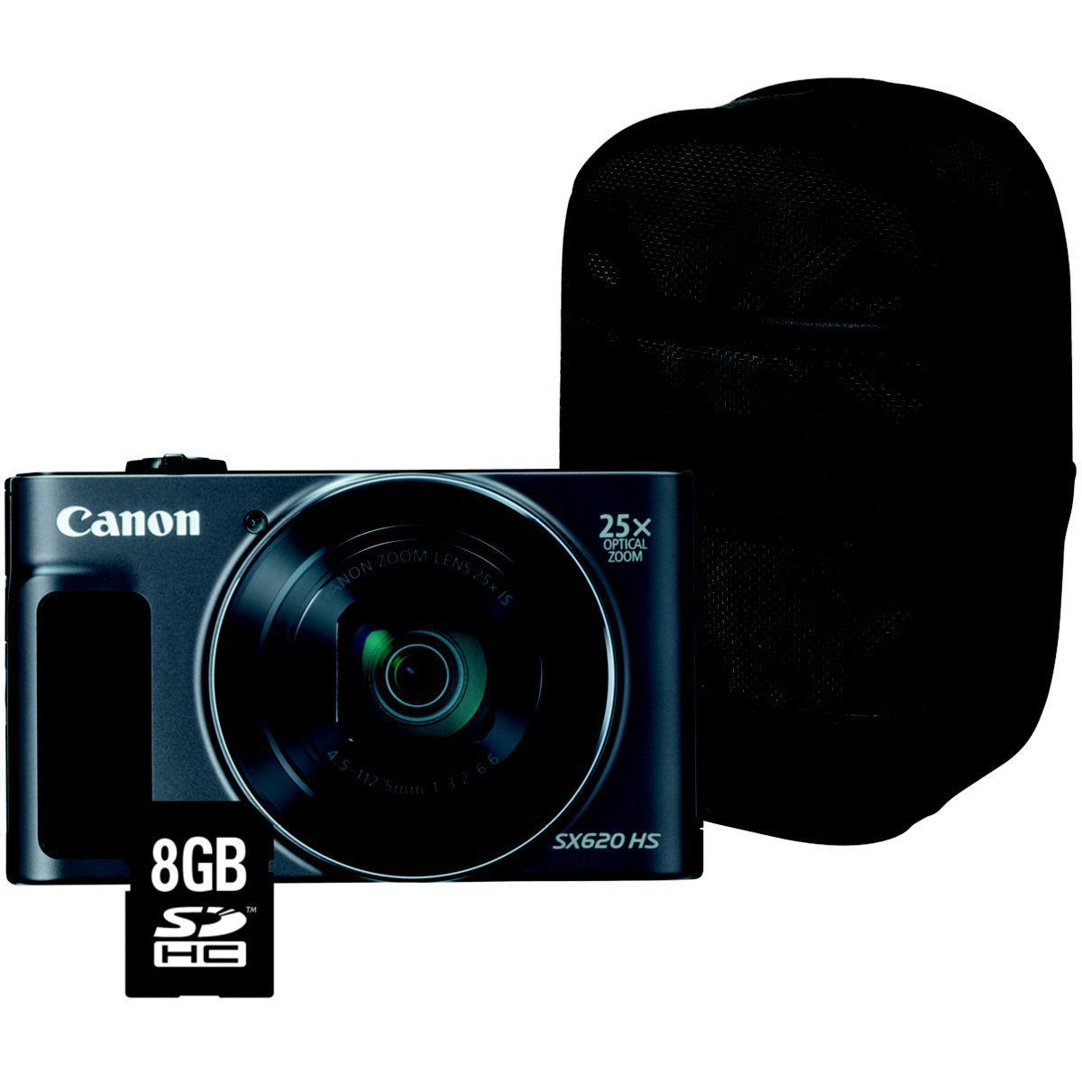 Appareil photo compact canon pack sx620 hs noir + house + sd 8go - livraison offerte : code livphoto (photo)