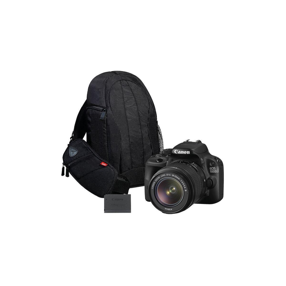 Pack promo appareil photo reflex canon eos 100d + 18-55 dc + 2e batterie + sac + carte mémoire sd lexar 128go 1000x professional sdhc uhs2 - livraison