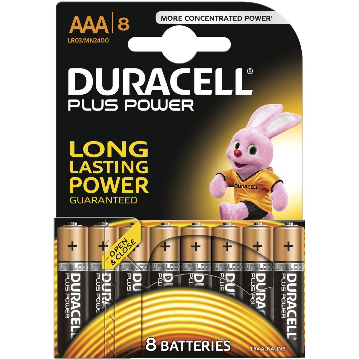 Pile non rechargeable duracell aaa x8 plus power lr03 (photo)