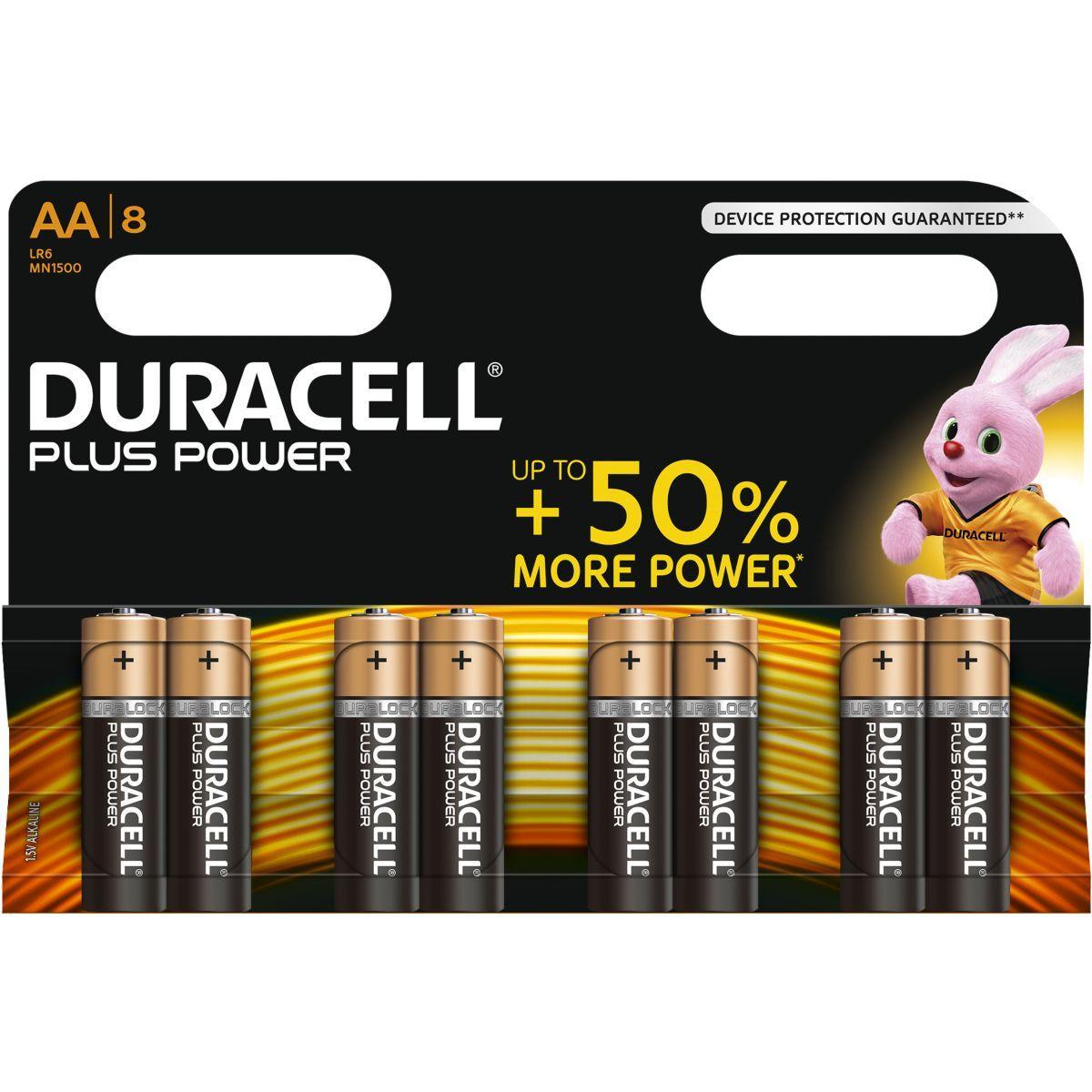 Pile non rechargeable duracell aa x8 plus power lr06 (photo)