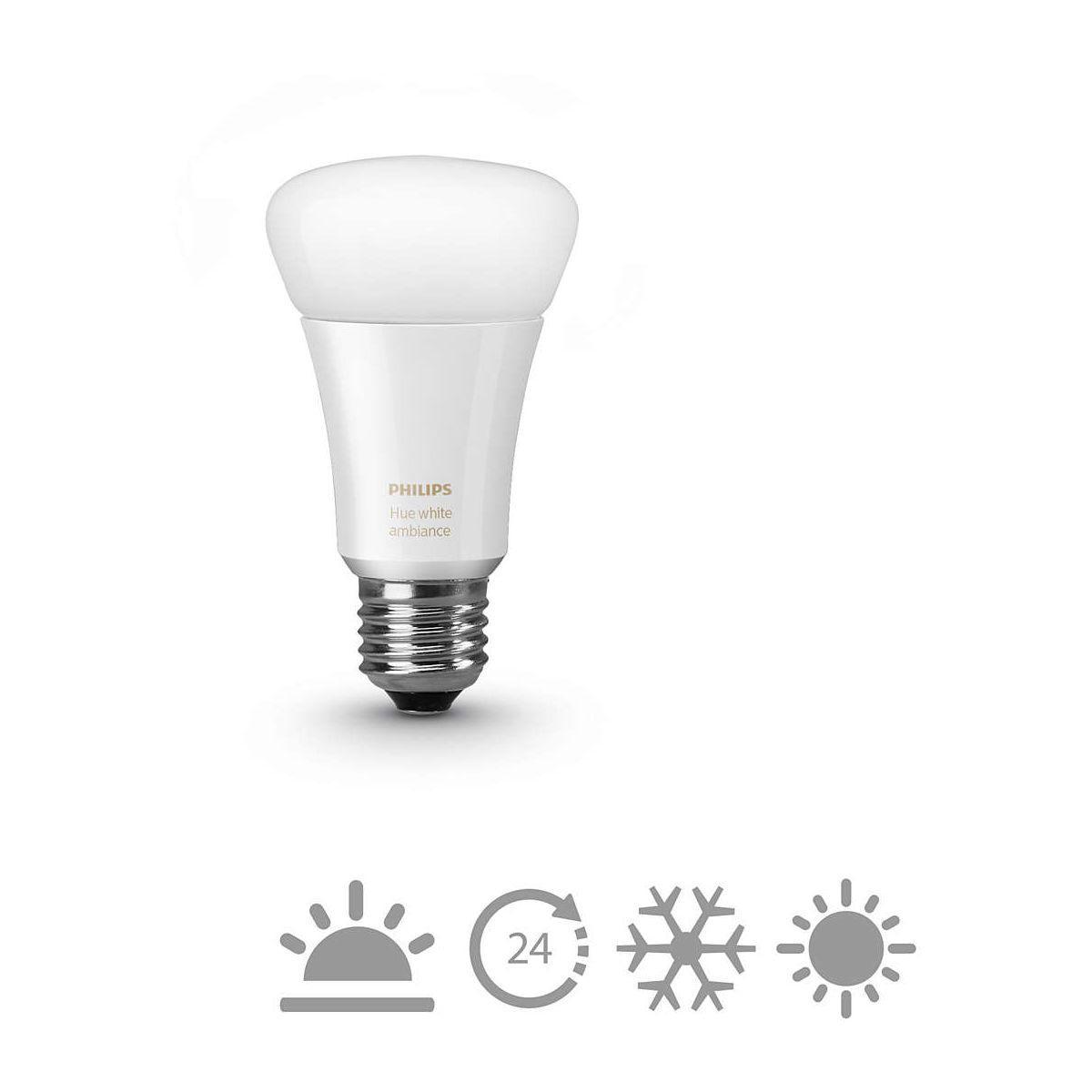 Ampoule connectable philips e27 hue white & ambiance - 2% de remise imm�diate avec le code : school2 (photo)