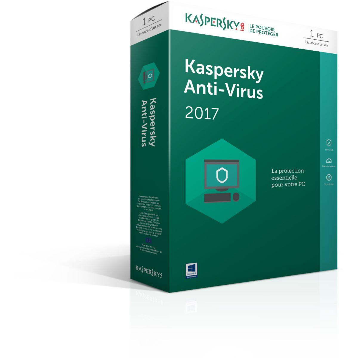 Logiciel antivirus pc kaspersky antivirus 2017 1 poste / 1 an - 7% de remise immédiate avec le code : cash7 (photo)