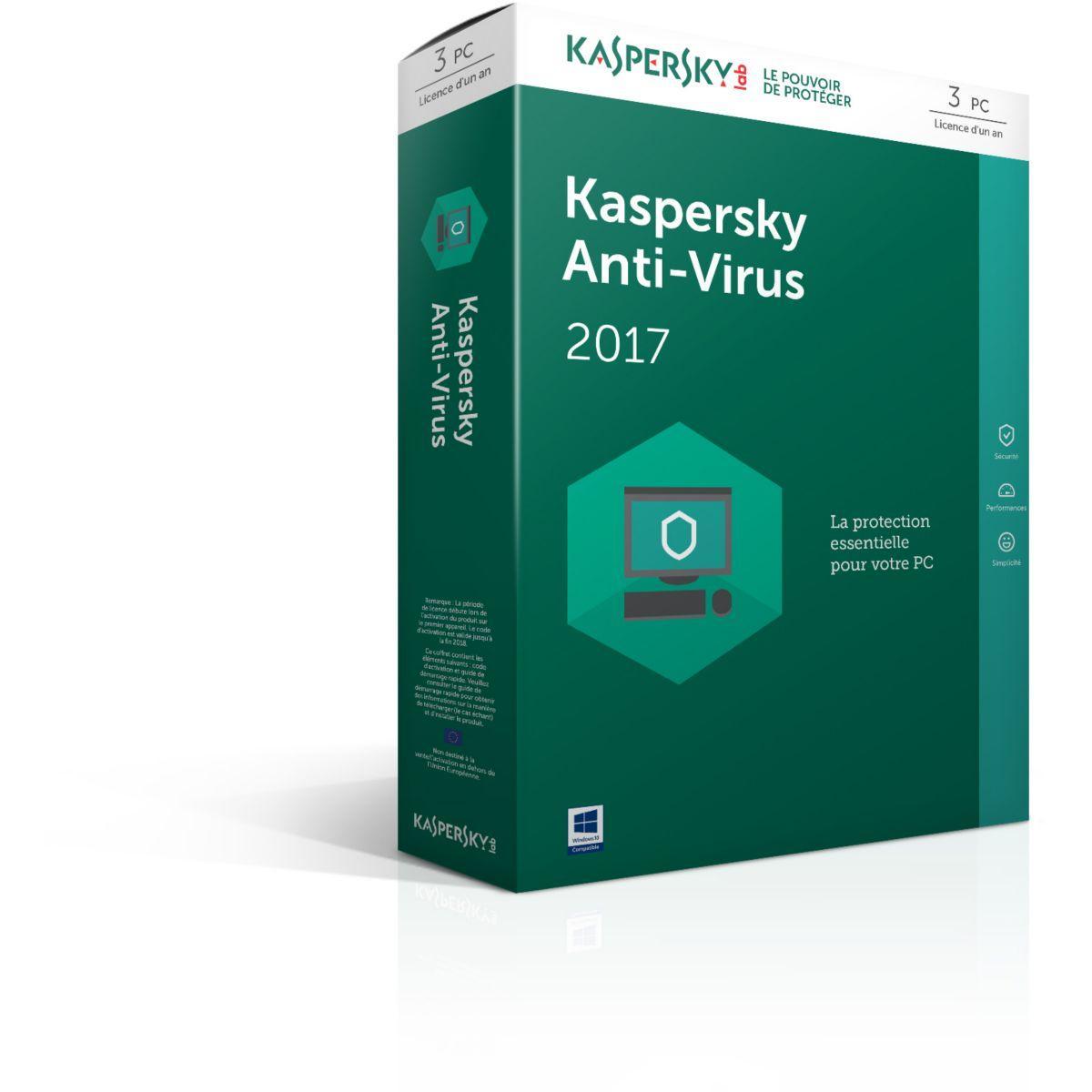 Logiciel antivirus pc kaspersky antivirus 2017 3 postes / 1 an - 10% de remise immédiate avec le code : cash10 (photo)