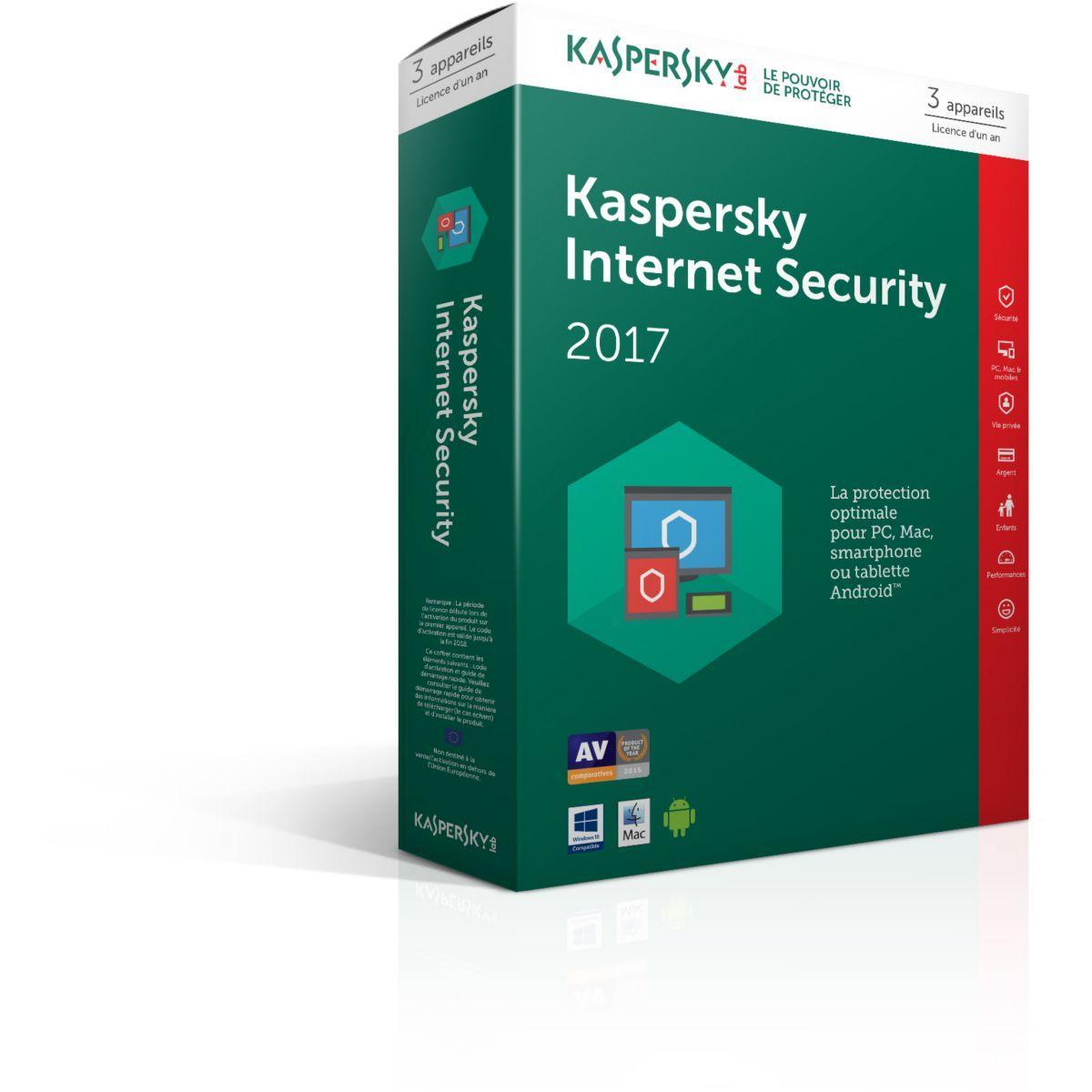 Logiciel antivirus pc kaspersky internet security 2017 3 postes / 1 an - 15% de remise immédiate avec le code : cash15 (photo)