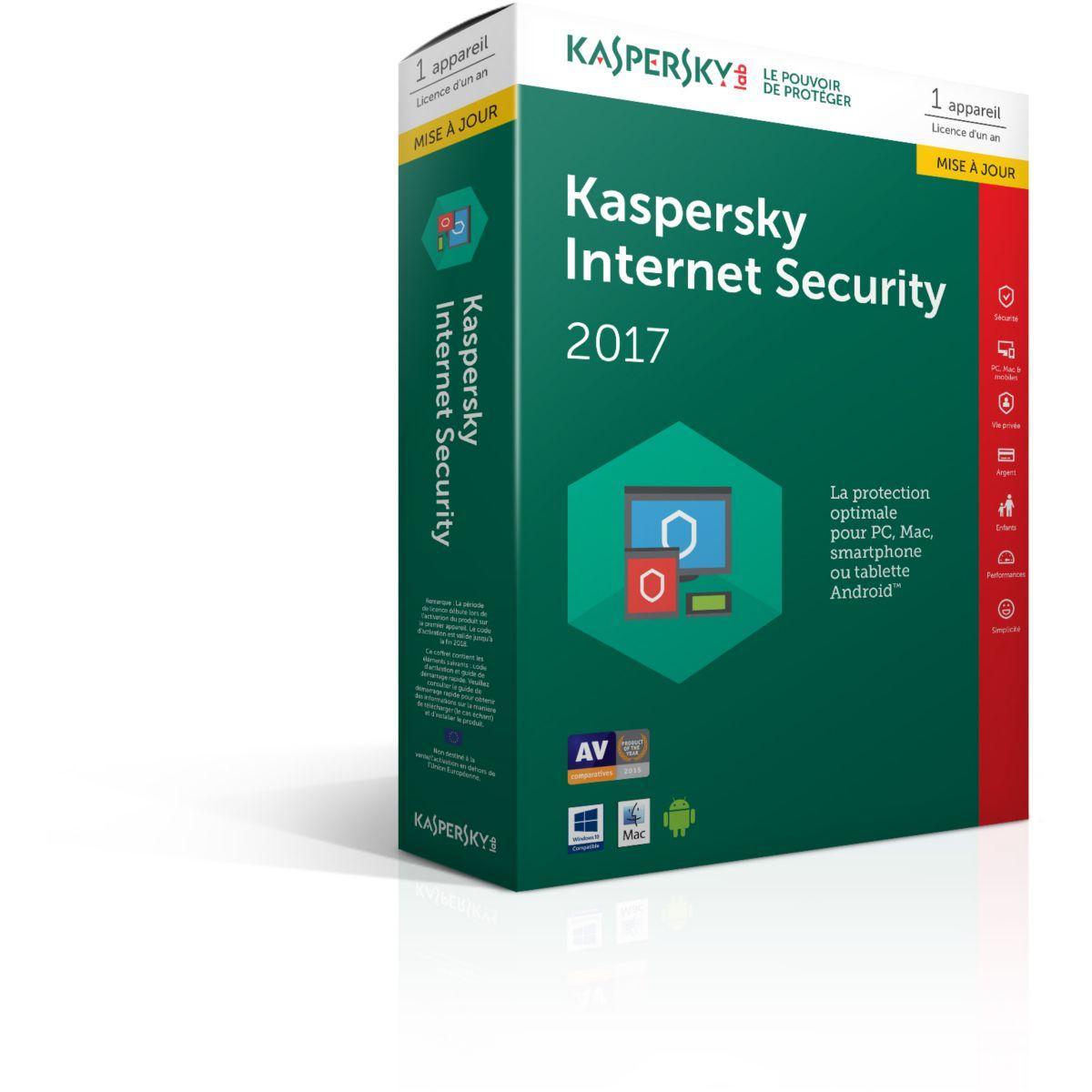 Logiciel antivirus pc kaspersky internet security 2017 1 poste / 1 an maj - 10% de remise immédiate avec le code : cash10 (photo)