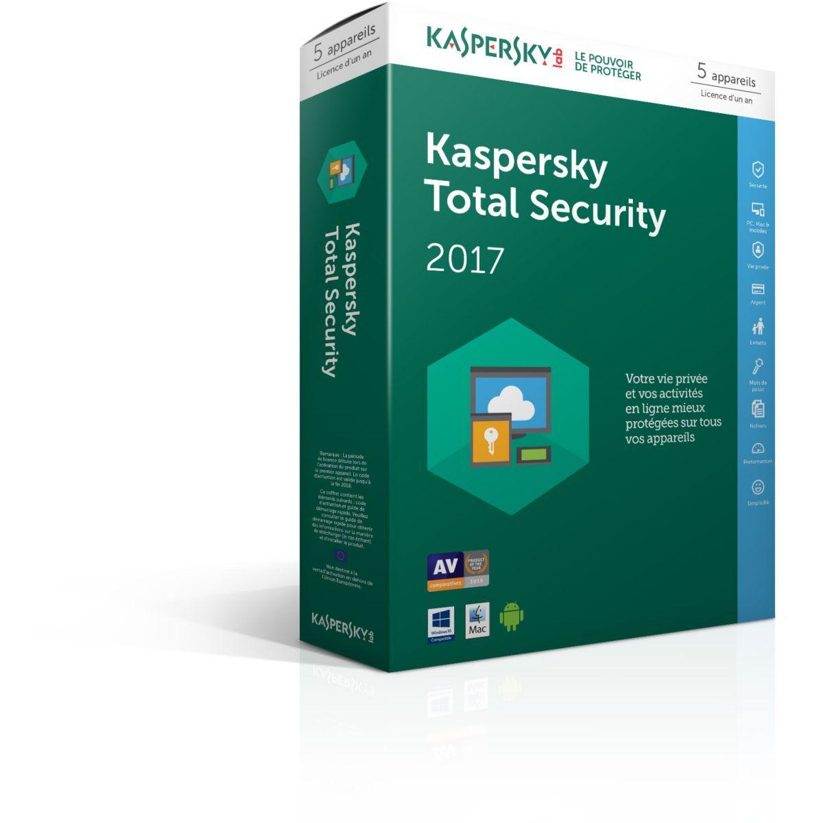 Logiciel antivirus pc kaspersky total security 2017 5 postes / 1 an - 15% de remise immédiate avec le code : cash15 (photo)