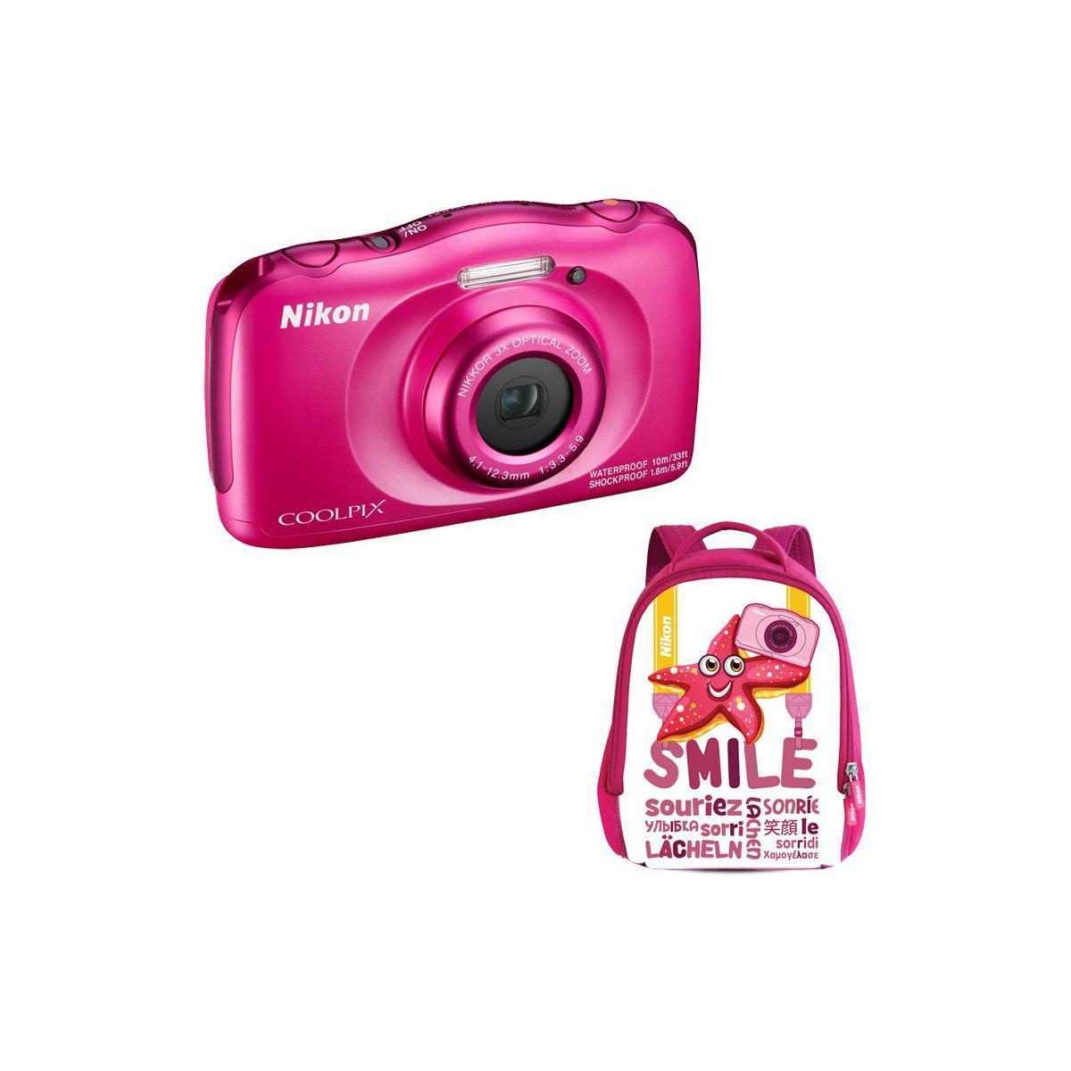 Appareil photo compact nikon coolpix w100 rose + sac � dos - 10% de remise imm�diate avec le code : school10 (photo)
