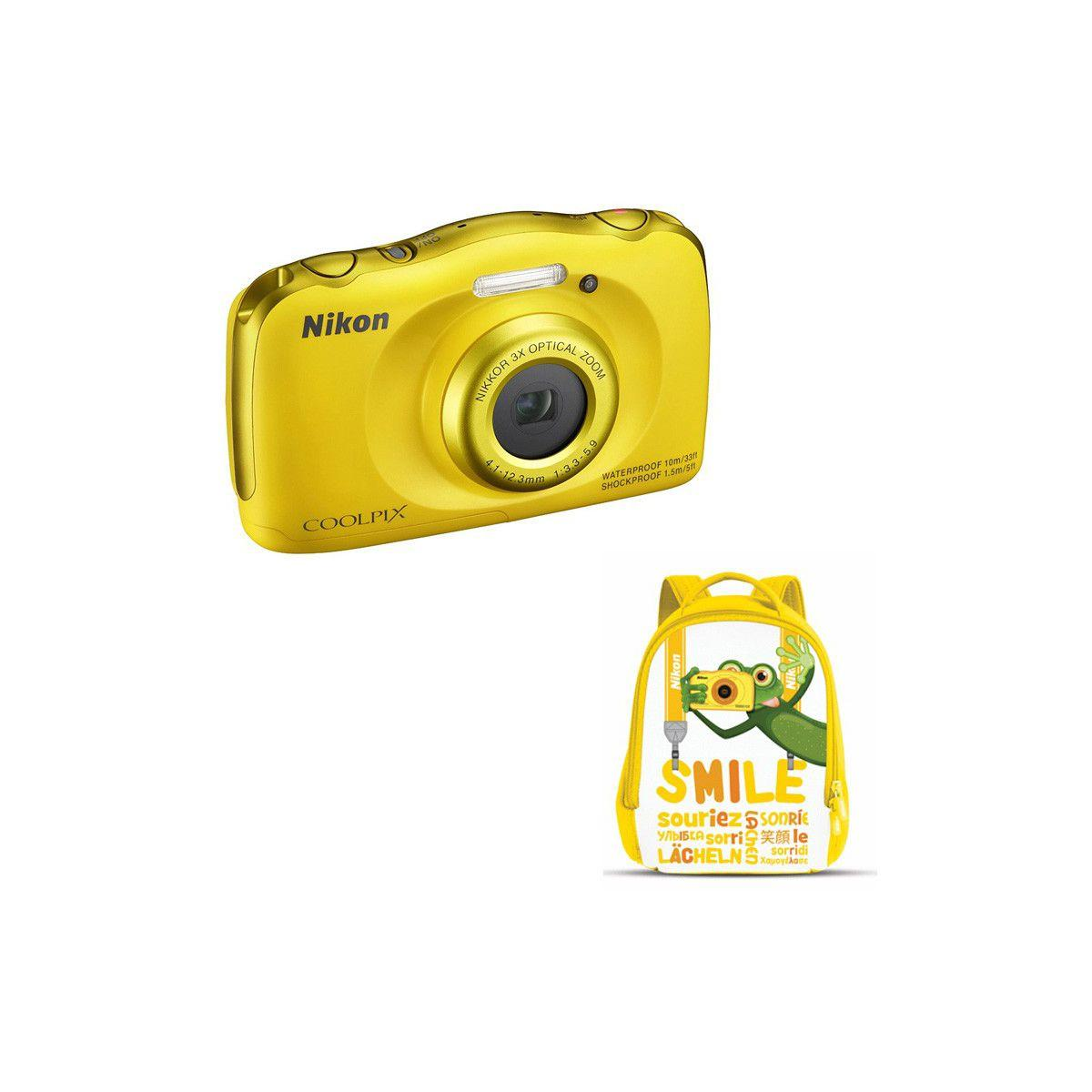 Appareil photo compact nikon coolpix w100 jaune + sac � dos (photo)