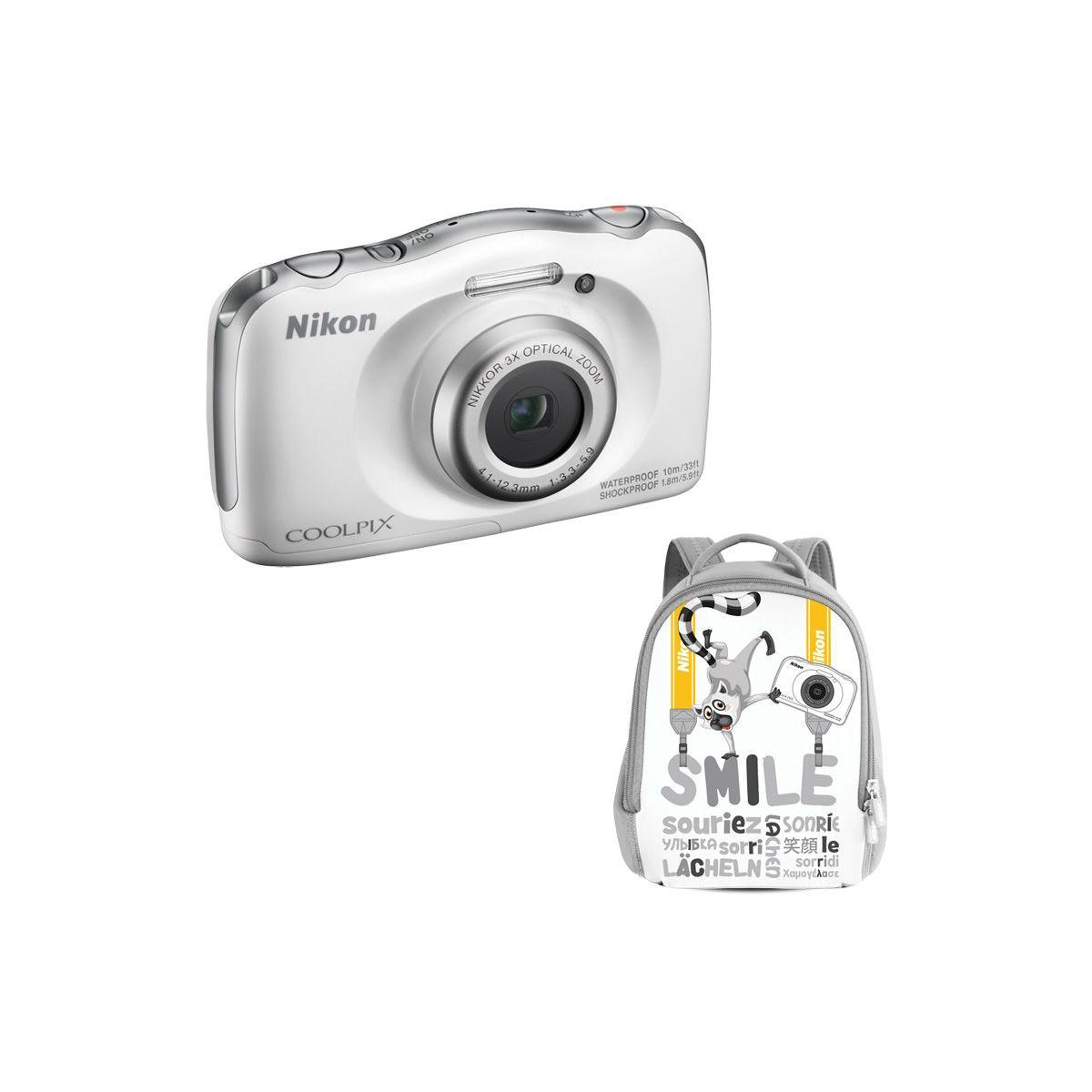 Appareil photo compact nikon coolpix w100 blanc + sac ? dos