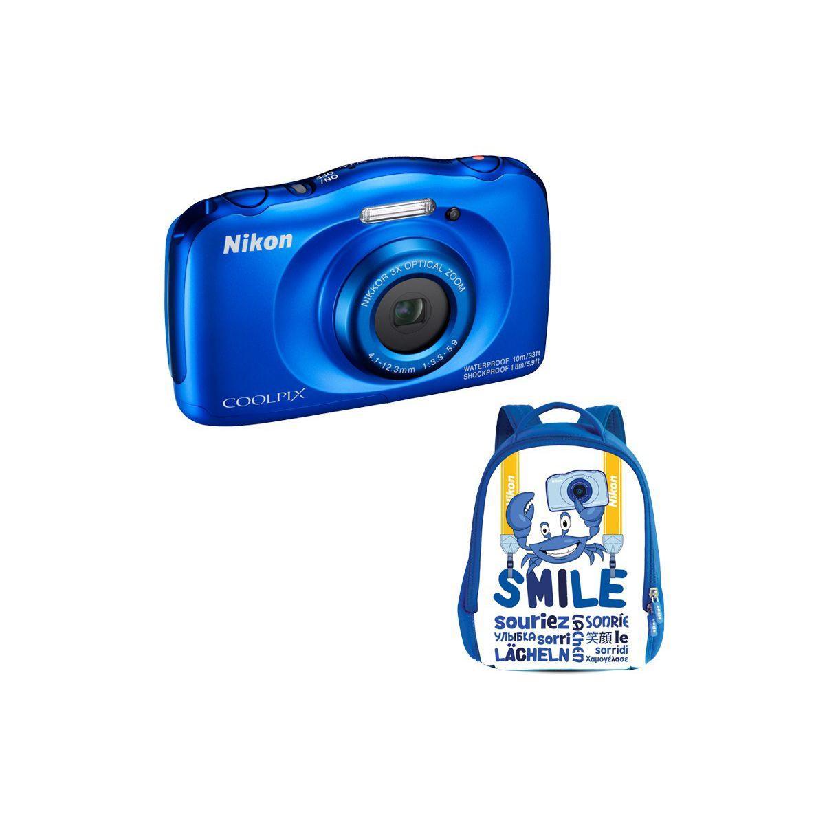 Appareil photo compact nikon coolpix w100 bleu + sac � dos (photo)