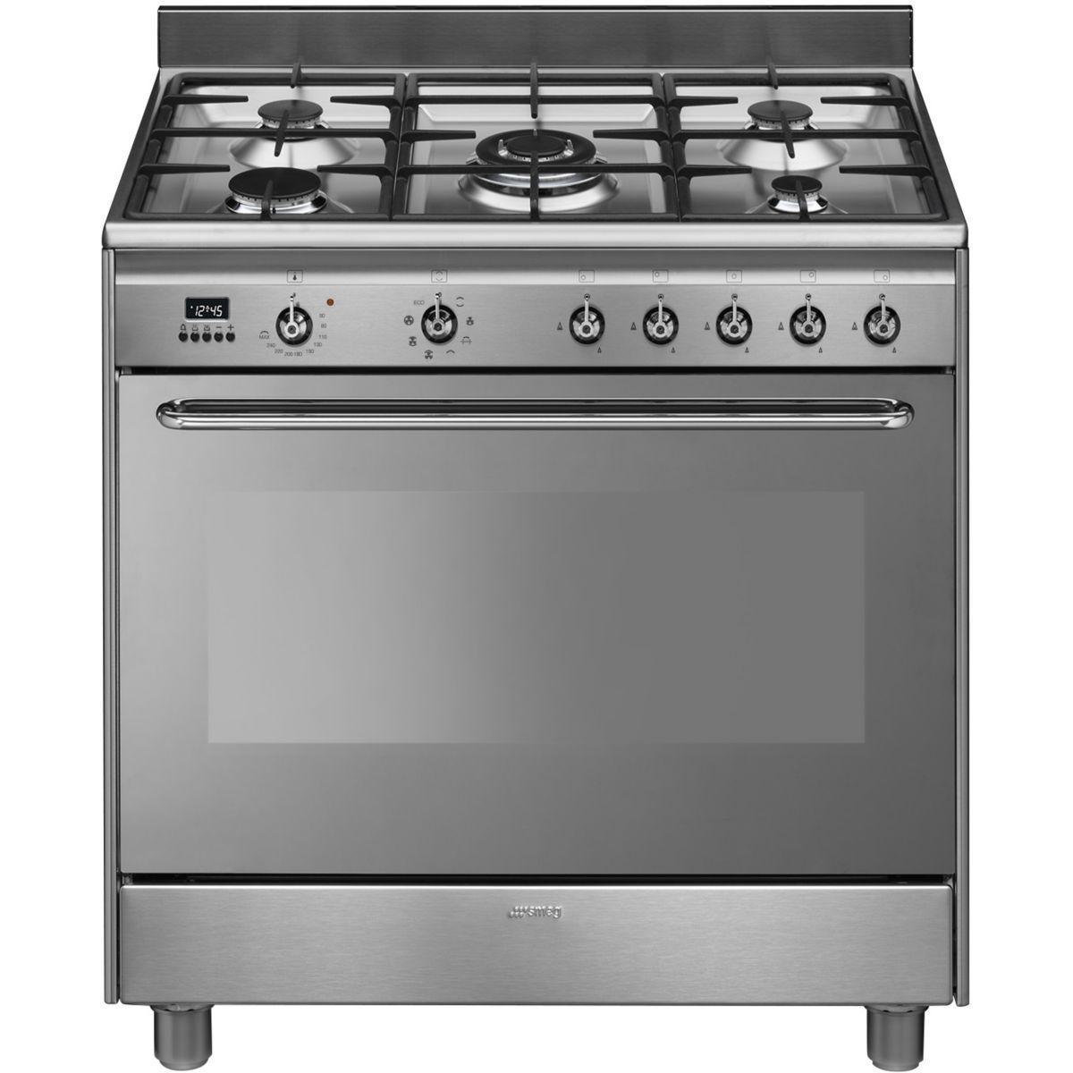 Pack promo cuisini�re gaz smeg cg90x9 + cr�dence smeg kit 90 x inox + hotte d�corative smeg kdc91xe (photo)