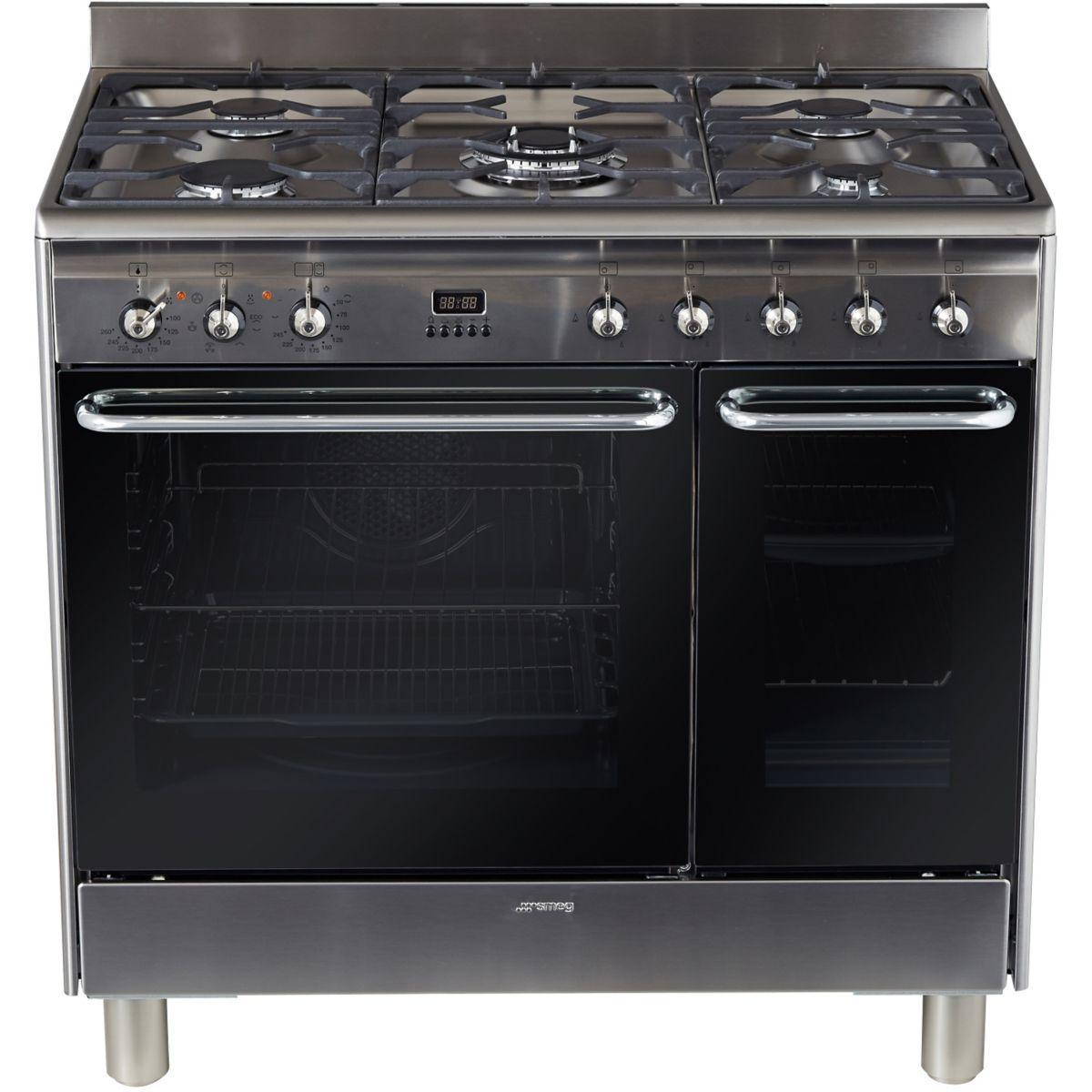 Pack promo piano de cuisson smeg cg92x9 + cr�dence smeg kit 90 x inox + hotte d�corative smeg kdc91xe (photo)