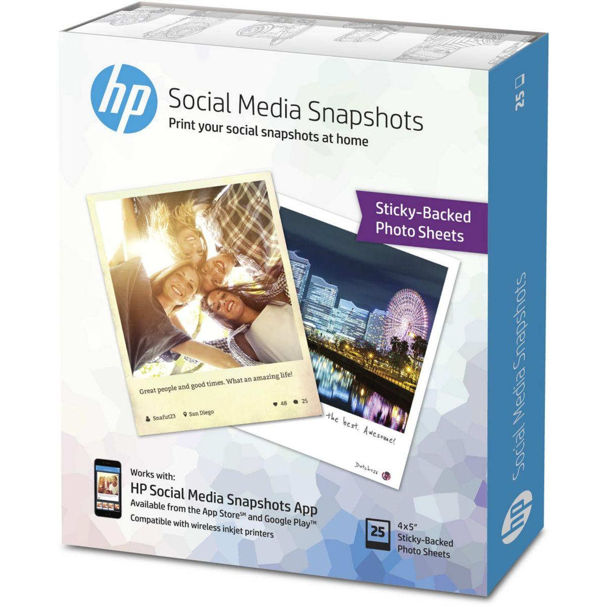 Papier photo hp w2g60a-10x13cm-25f-265g/m� snapshot