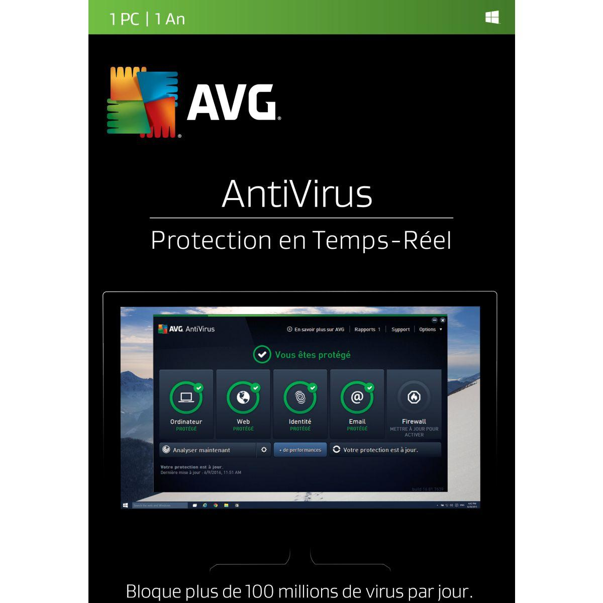 Logiciel pc avg antivirus (1 pc 1 an) (photo)
