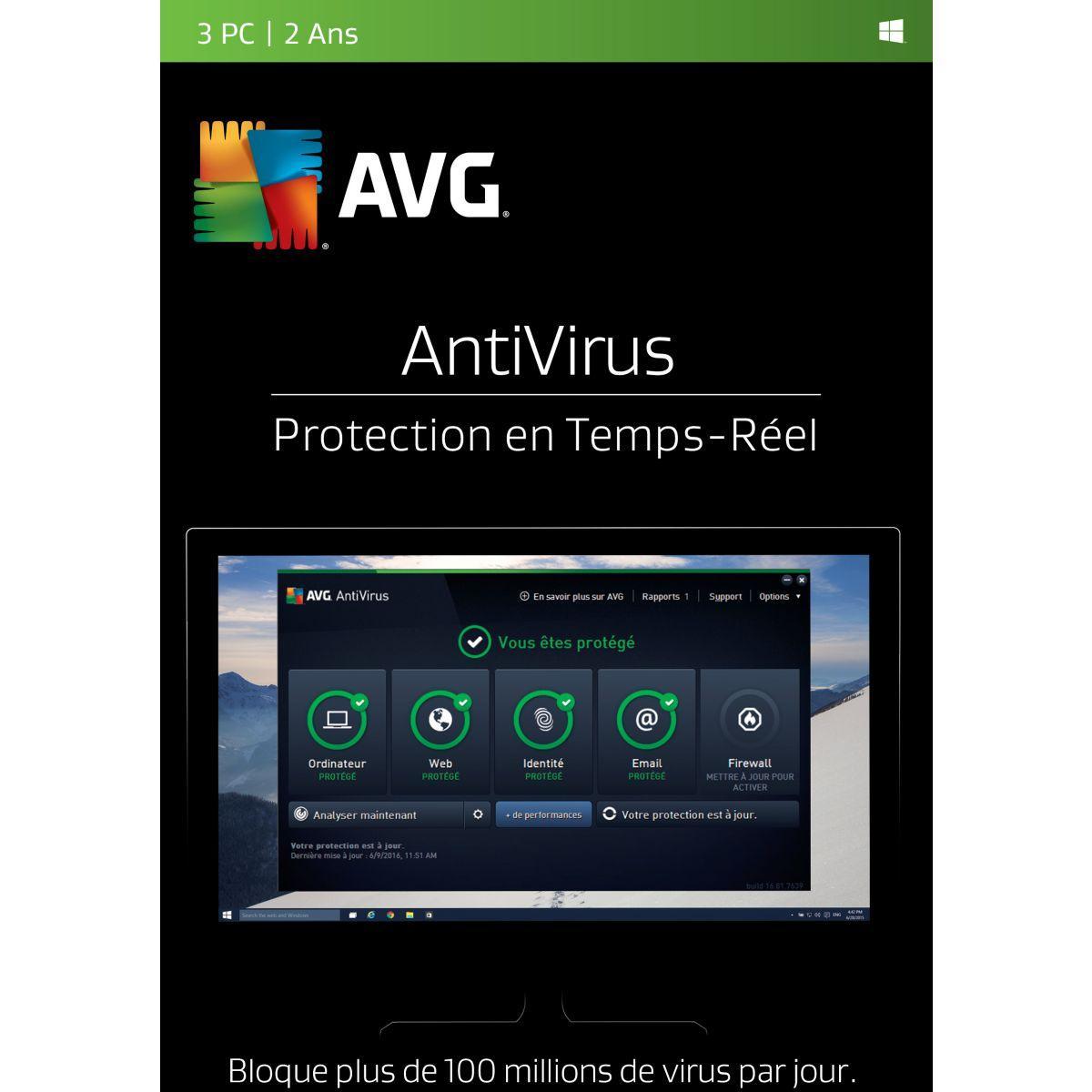 Logiciel pc avg antivirus (3 pc 2 ans) - 2% de remise immédiate avec le code : cash2 (photo)