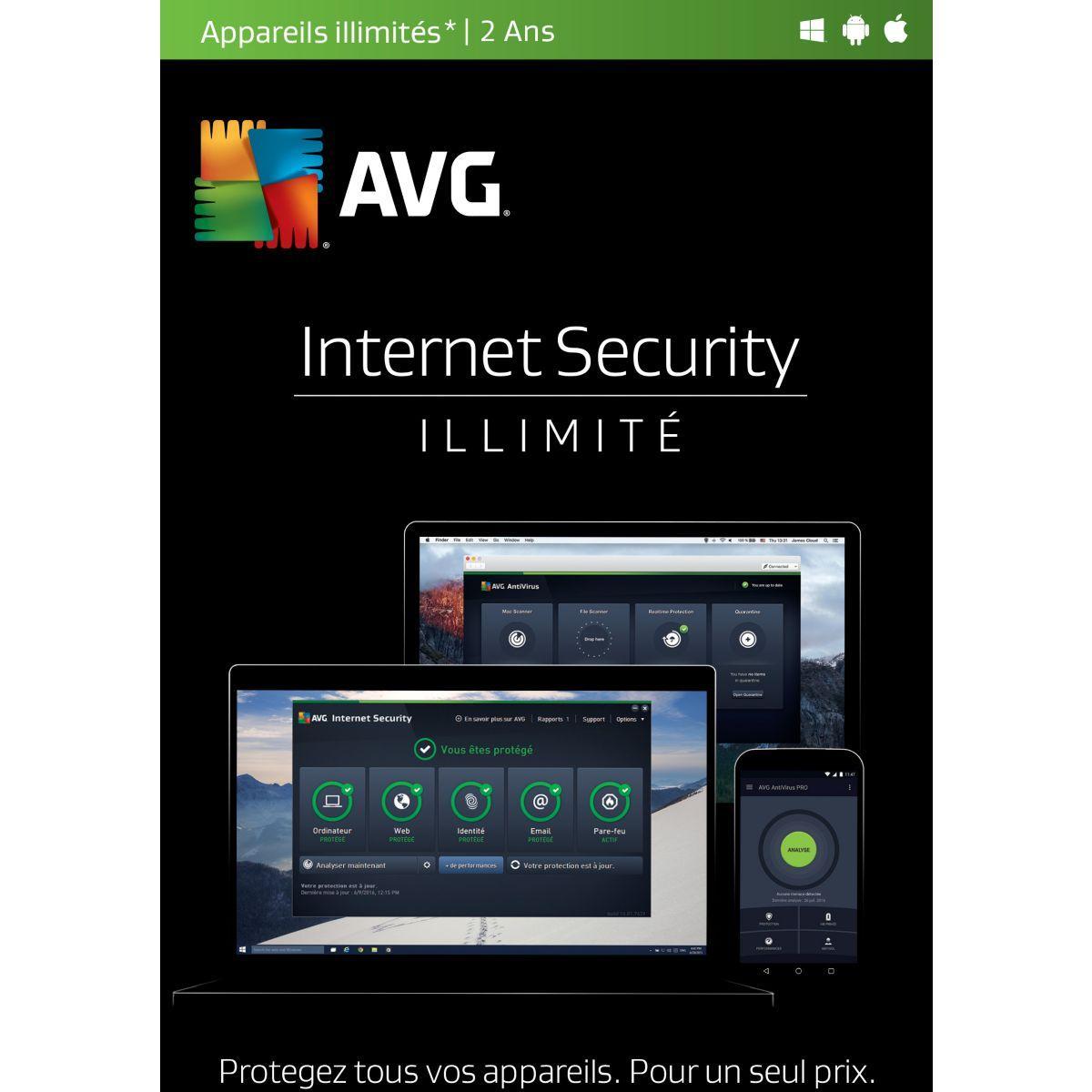 Logiciel pc avg internet security (2 ans, ill - 5% de remise immédiate avec le code : cash5 (photo)