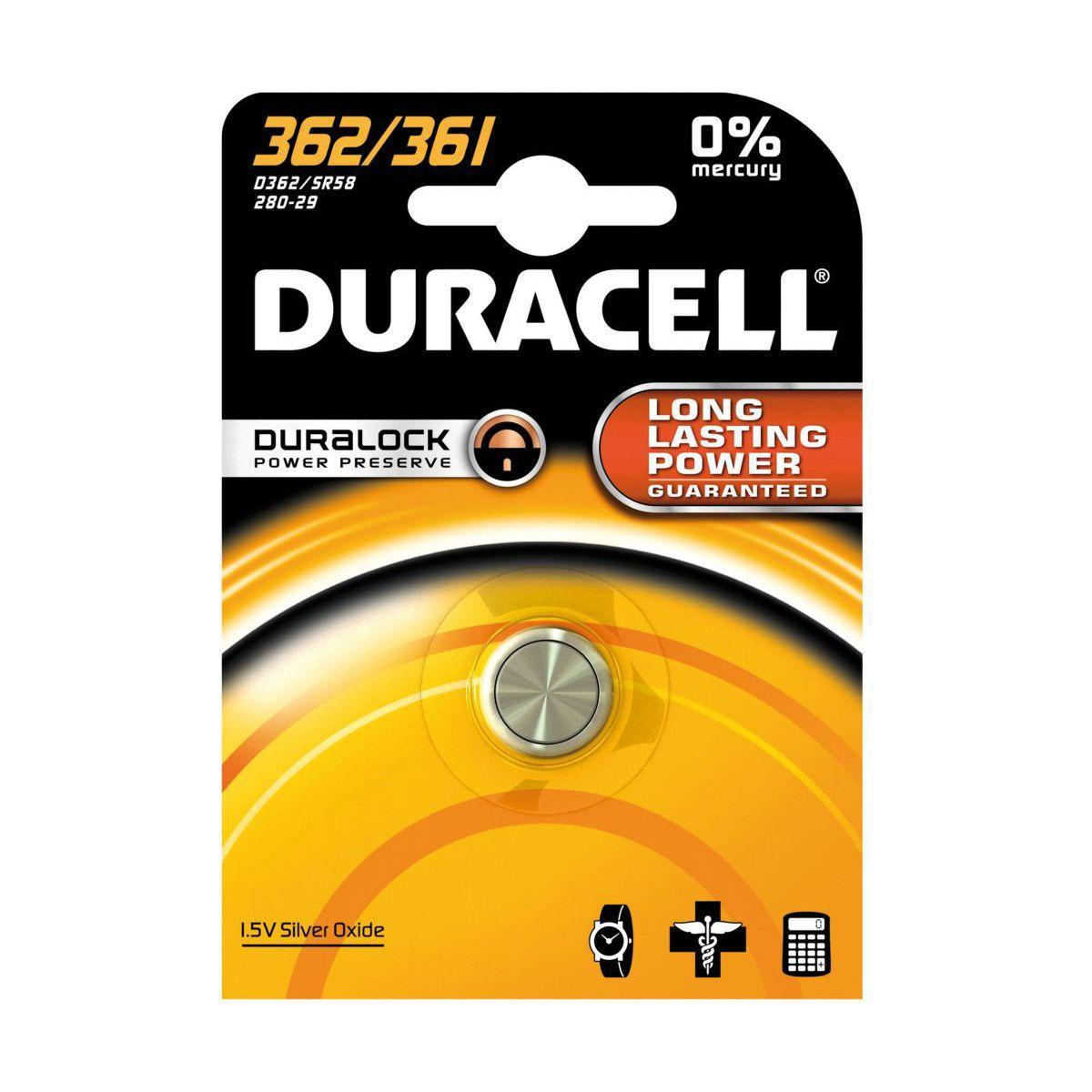 Pile non rechargeable duracell 362/361 - 2% de remise imm�diate avec le code : automne2 (photo)