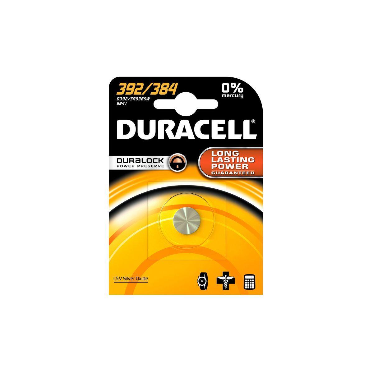 Pile non rechargeable duracell 392/384 - lr41 - ag3 - sr41 - 2% de remise imm�diate avec le code : automne2 (photo)