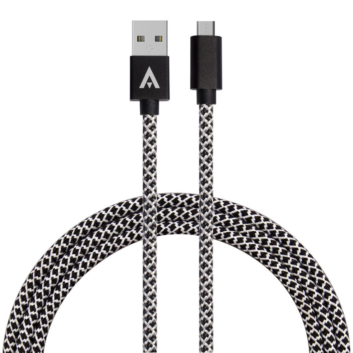 Câble micro usb adeqwat 2m noir/blanc (photo)