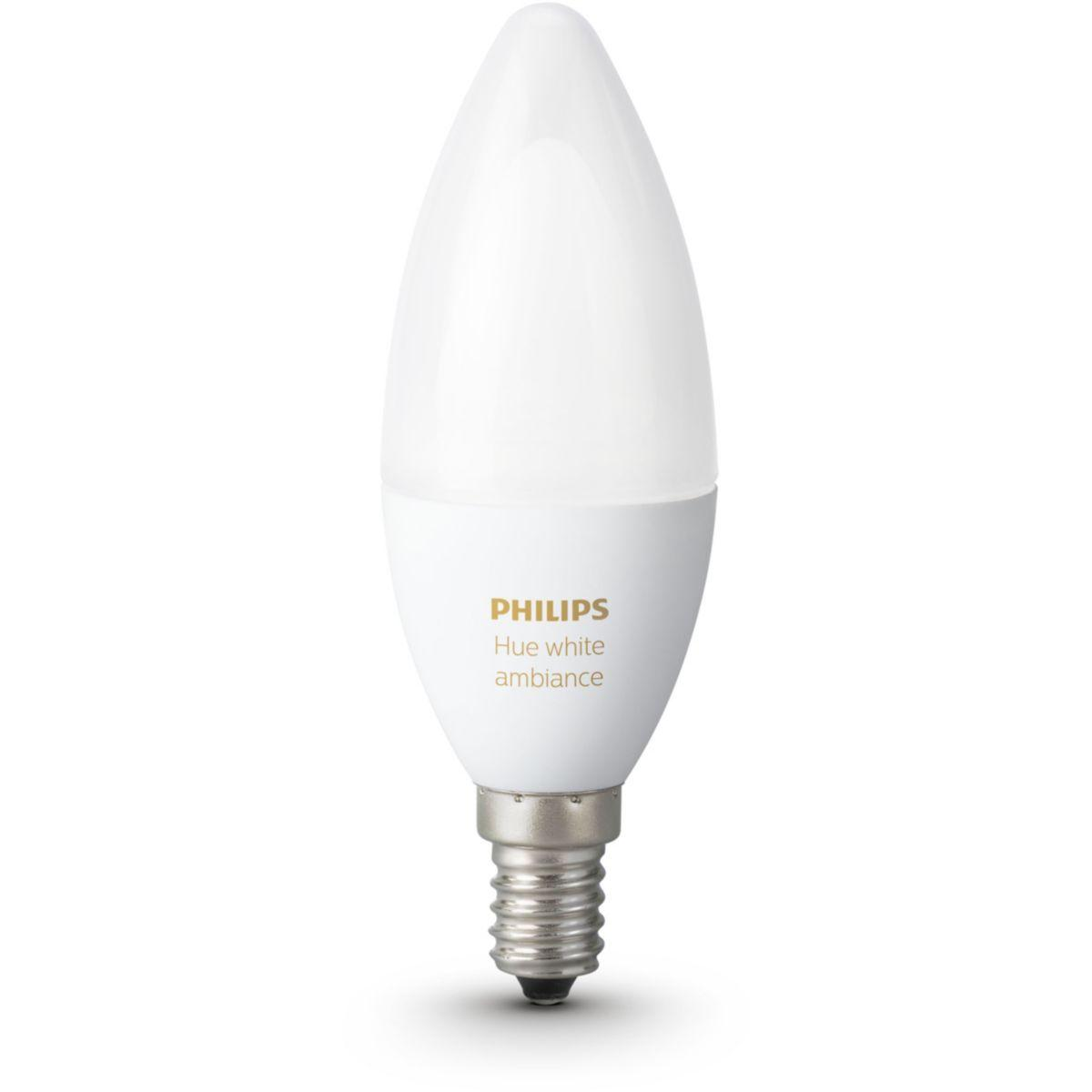 Ampoule connectable philips hue white & ambiance flamme e14 (photo)