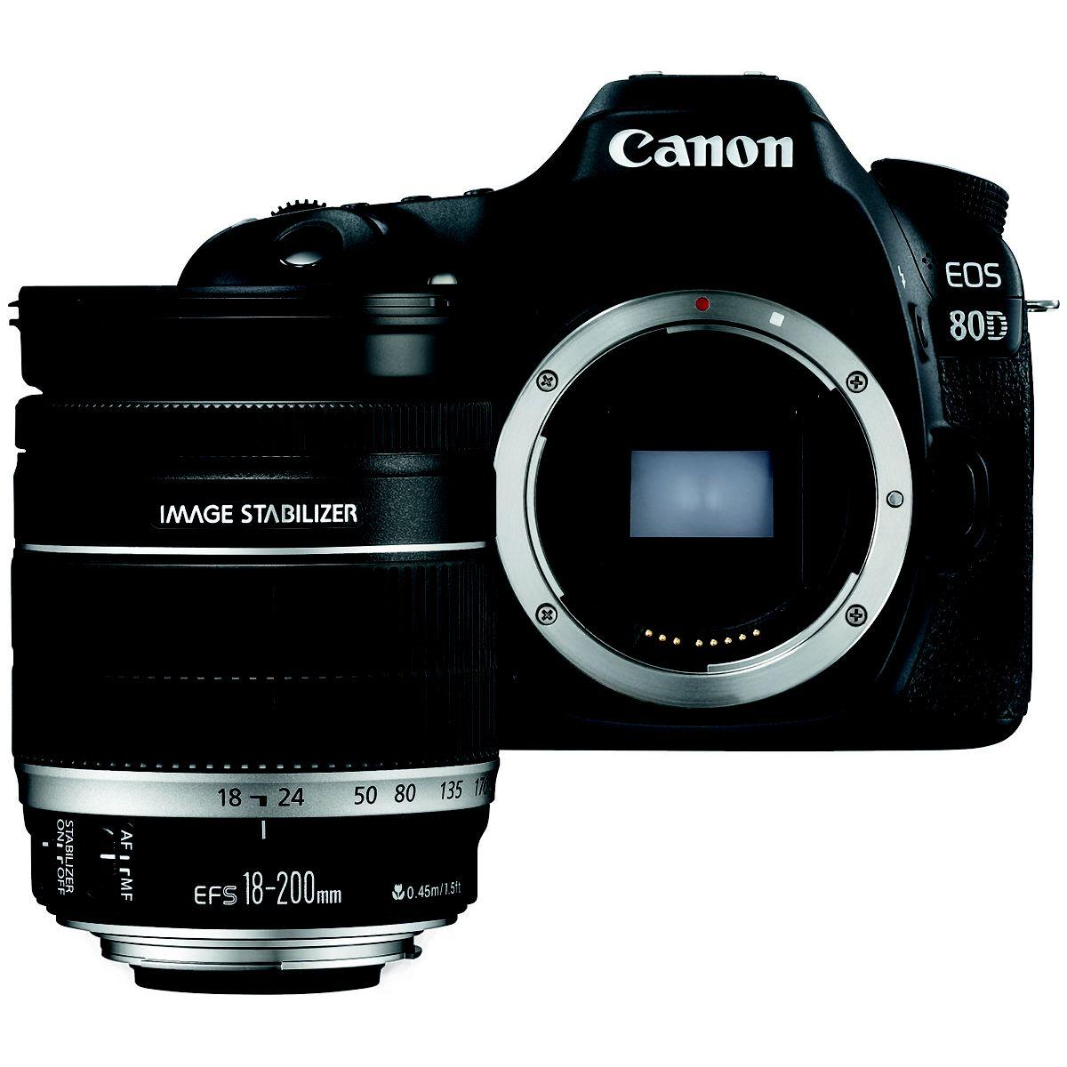 Appareil photo reflex canon eos 80d + 18-200 is