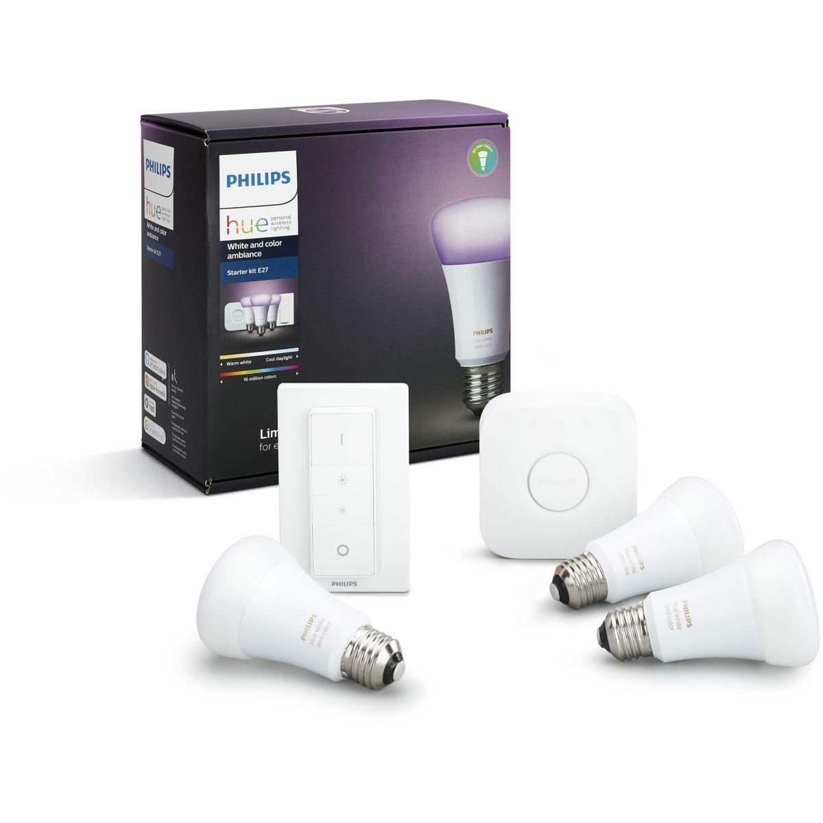 Pack philips d�marrage e27 hue white & colors - livraison offerte : code premium (photo)