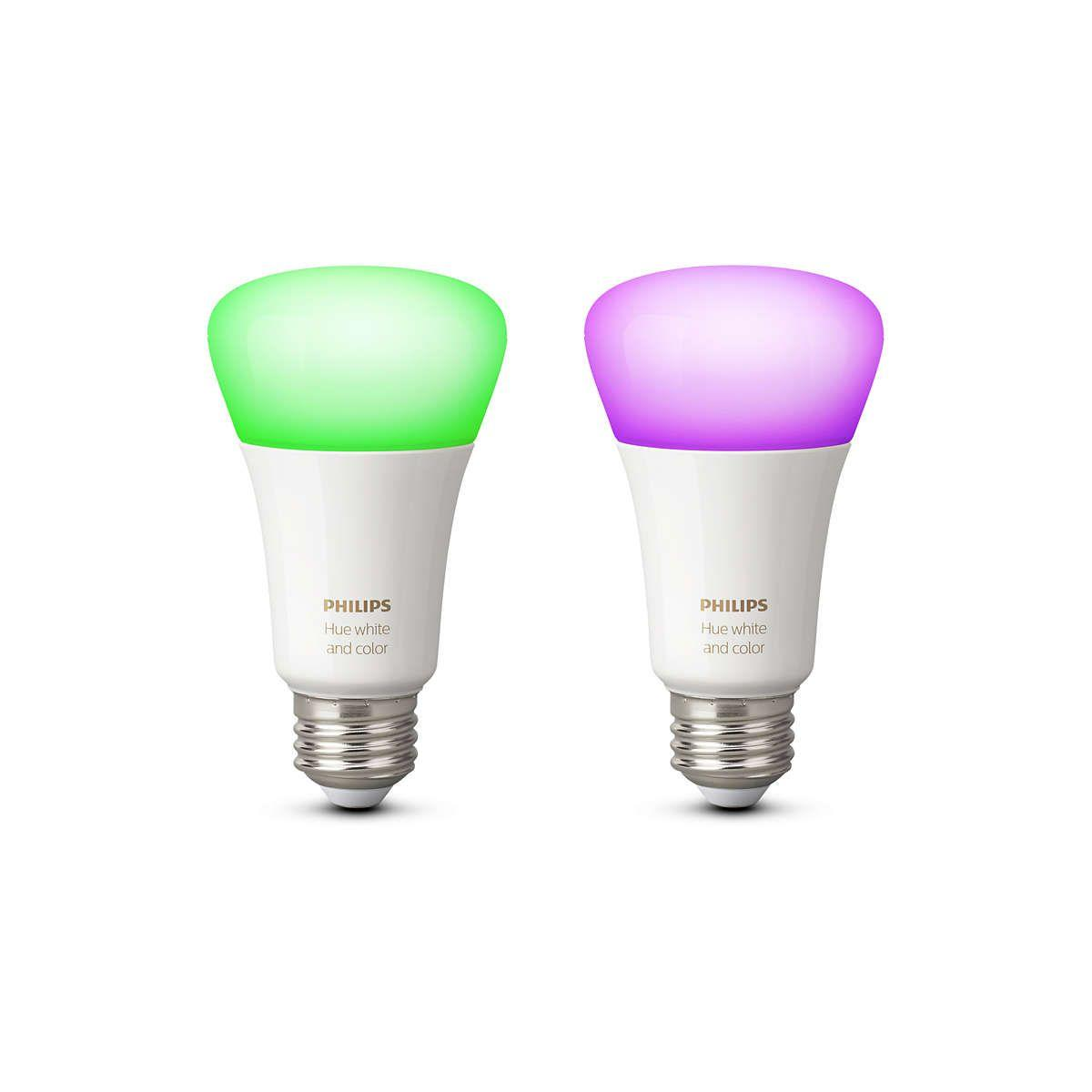 Ampoule connectable philips pack x2 e27 hue white & colors - livraison offerte : code premium (photo)