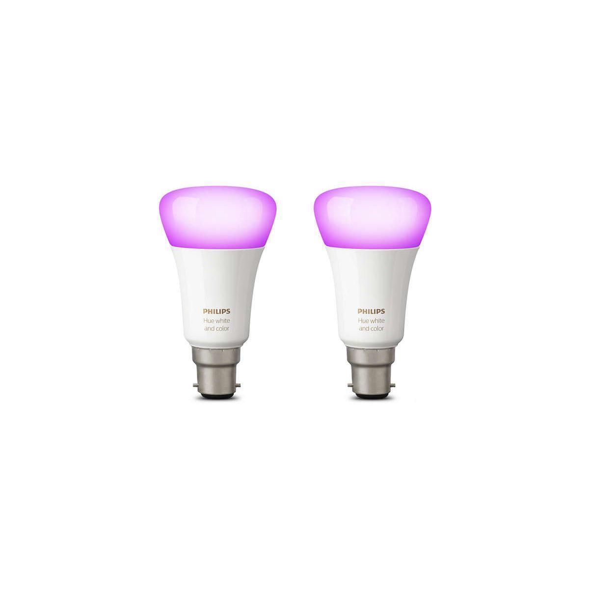Ampoule connectable philips pack x2 b22 hue white & colors - 7% de remise imm�diate avec le code : school7 (photo)