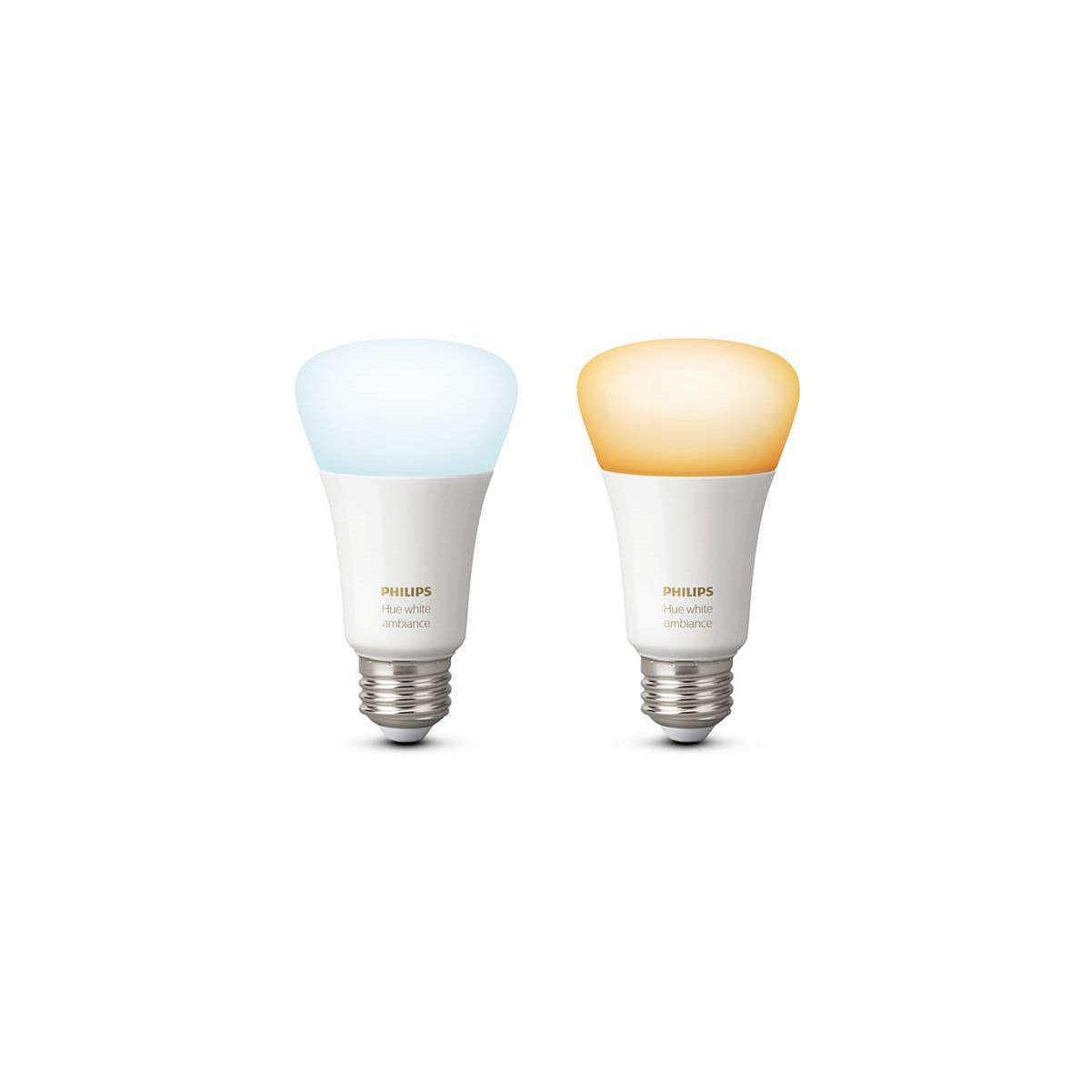 Ampoule connectable philips pack x2 e27 white & ambiance - 2% de remise imm�diate avec le code : school2 (photo)
