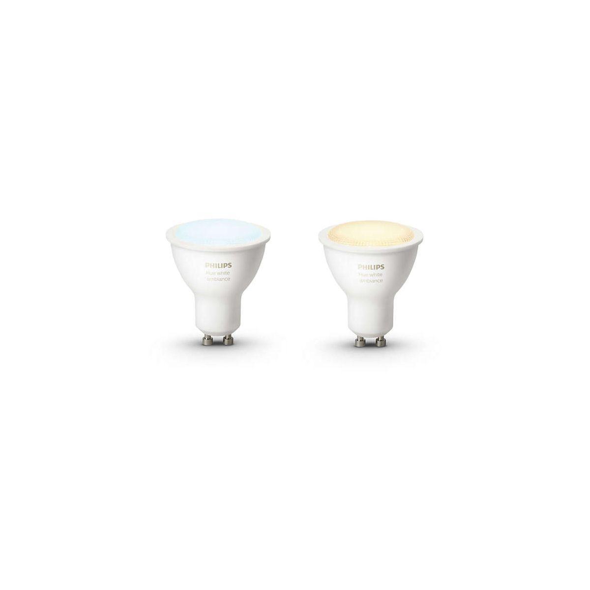 Ampoule connectable philips pack x2 gu10 white & ambiance - 2% de remise imm�diate avec le code : school2 (photo)