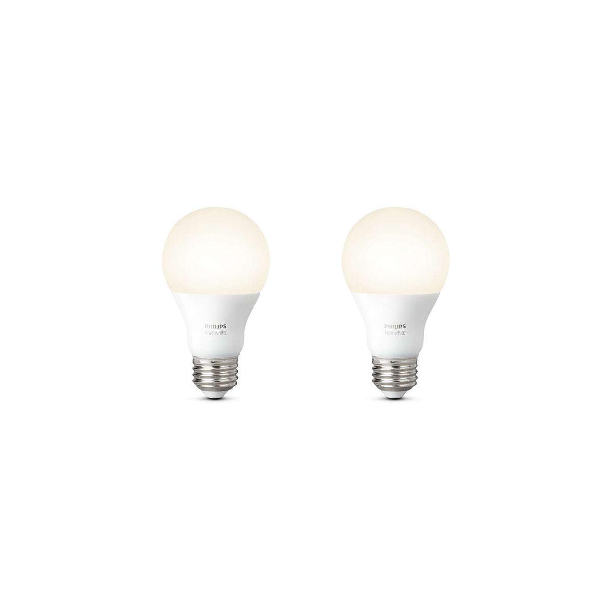Ampoule connectable philips pack x2 e27 hue white - 2% de remise imm�diate avec le code : school2 (photo)