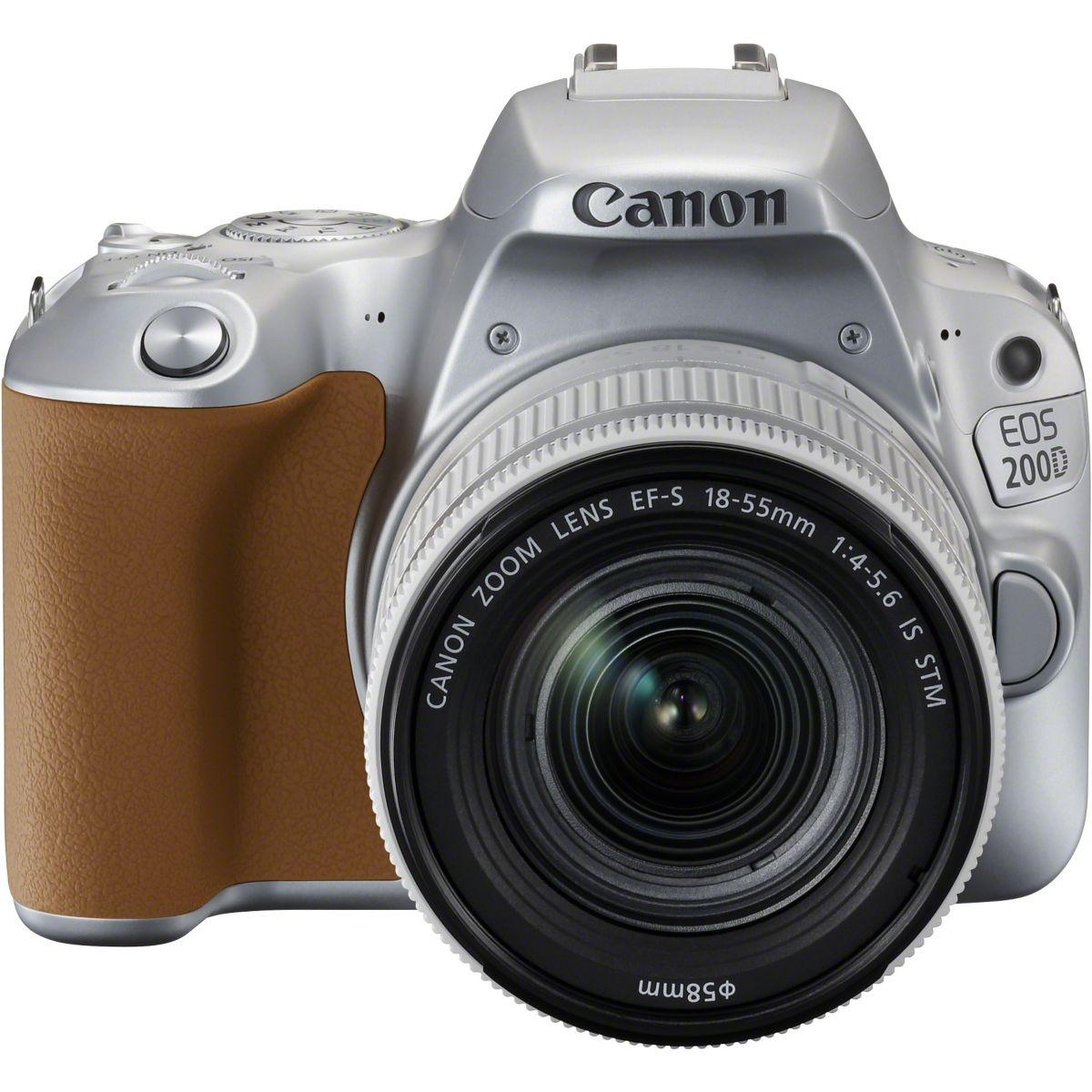 Appareil photo reflex canon eos 200d silver + 18-55mm is stm -...